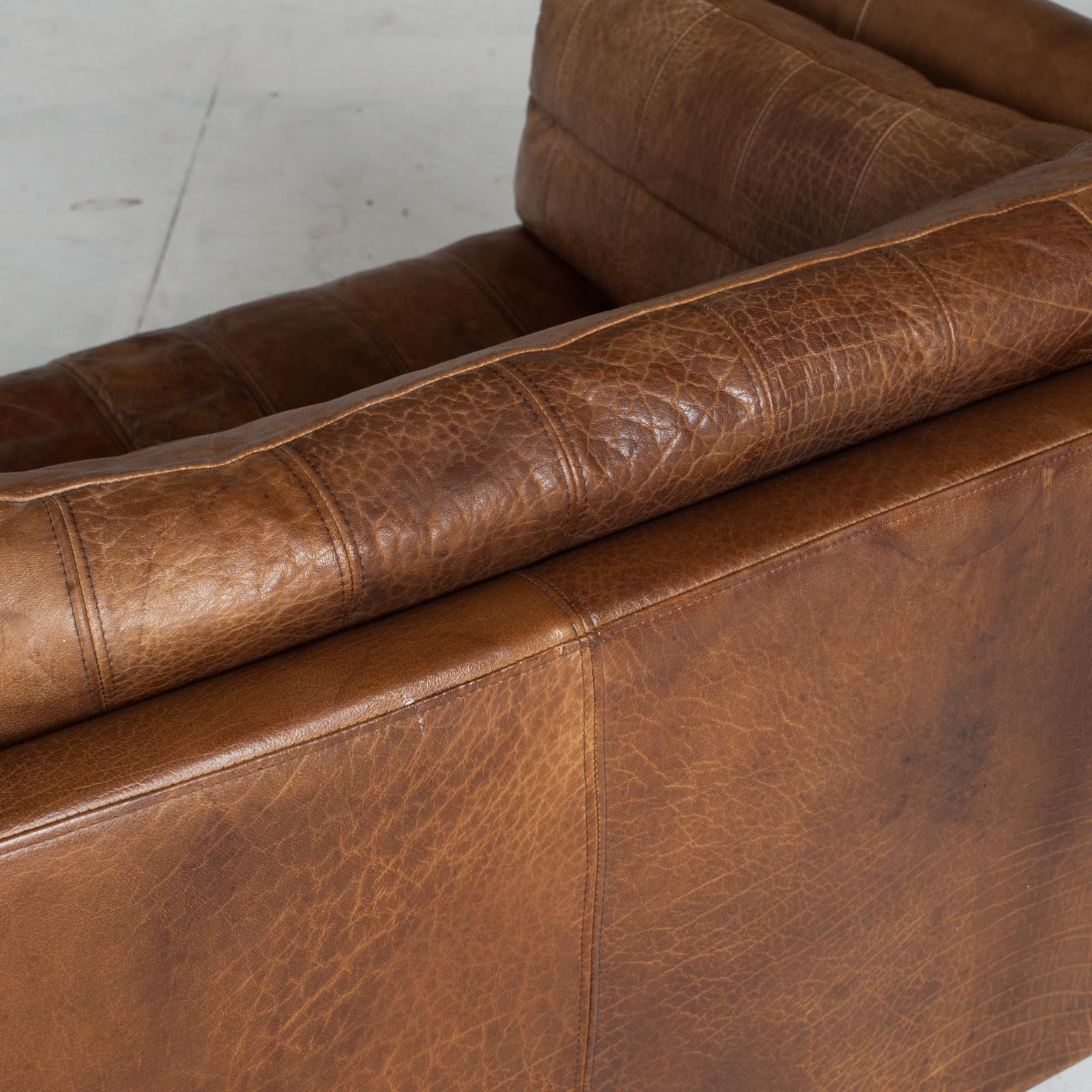 2.5 Seat Sofa In Tan Panelled Leather 1960s Denmark19