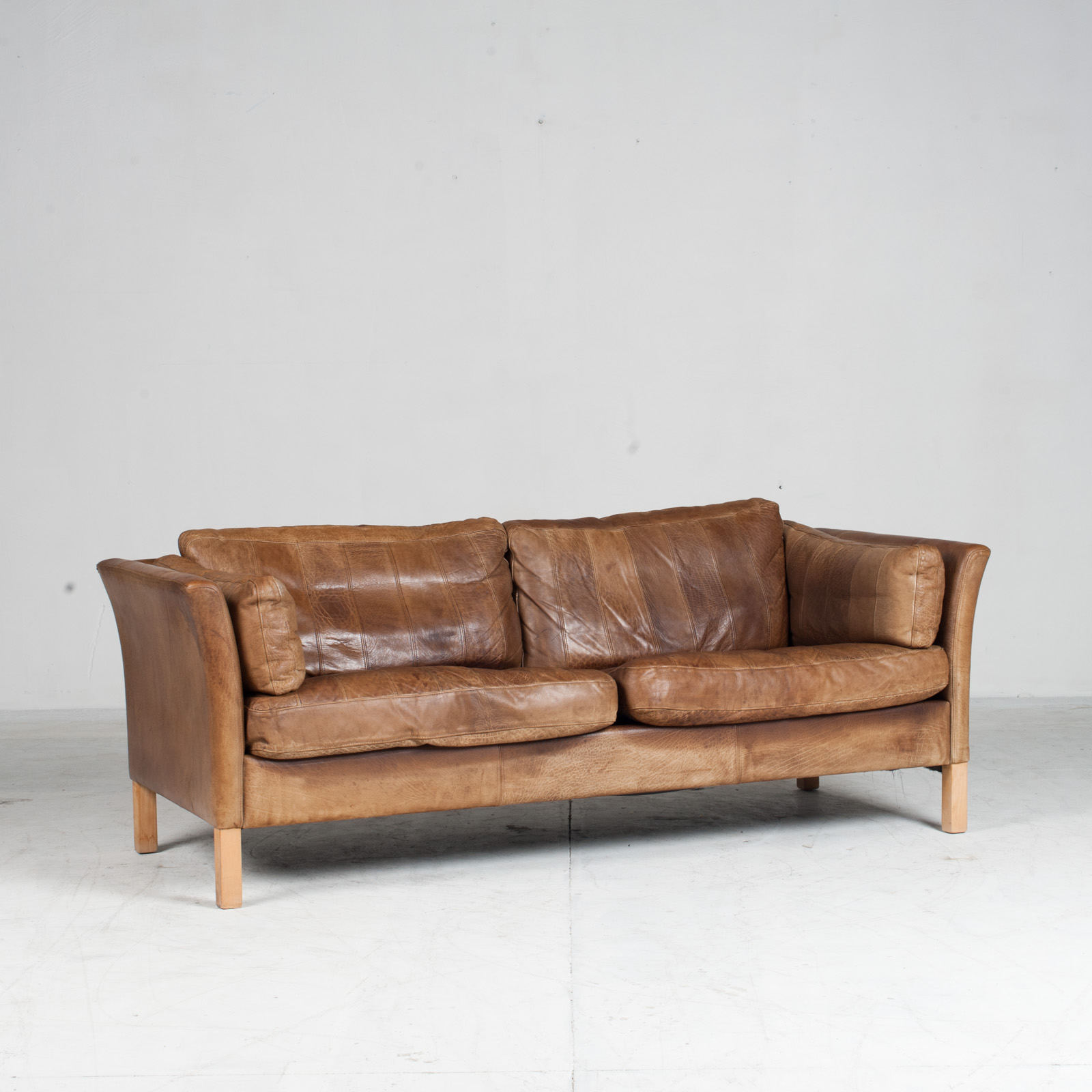2.5 Seat Sofa In Tan Panelled Leather 1960s Denmark2