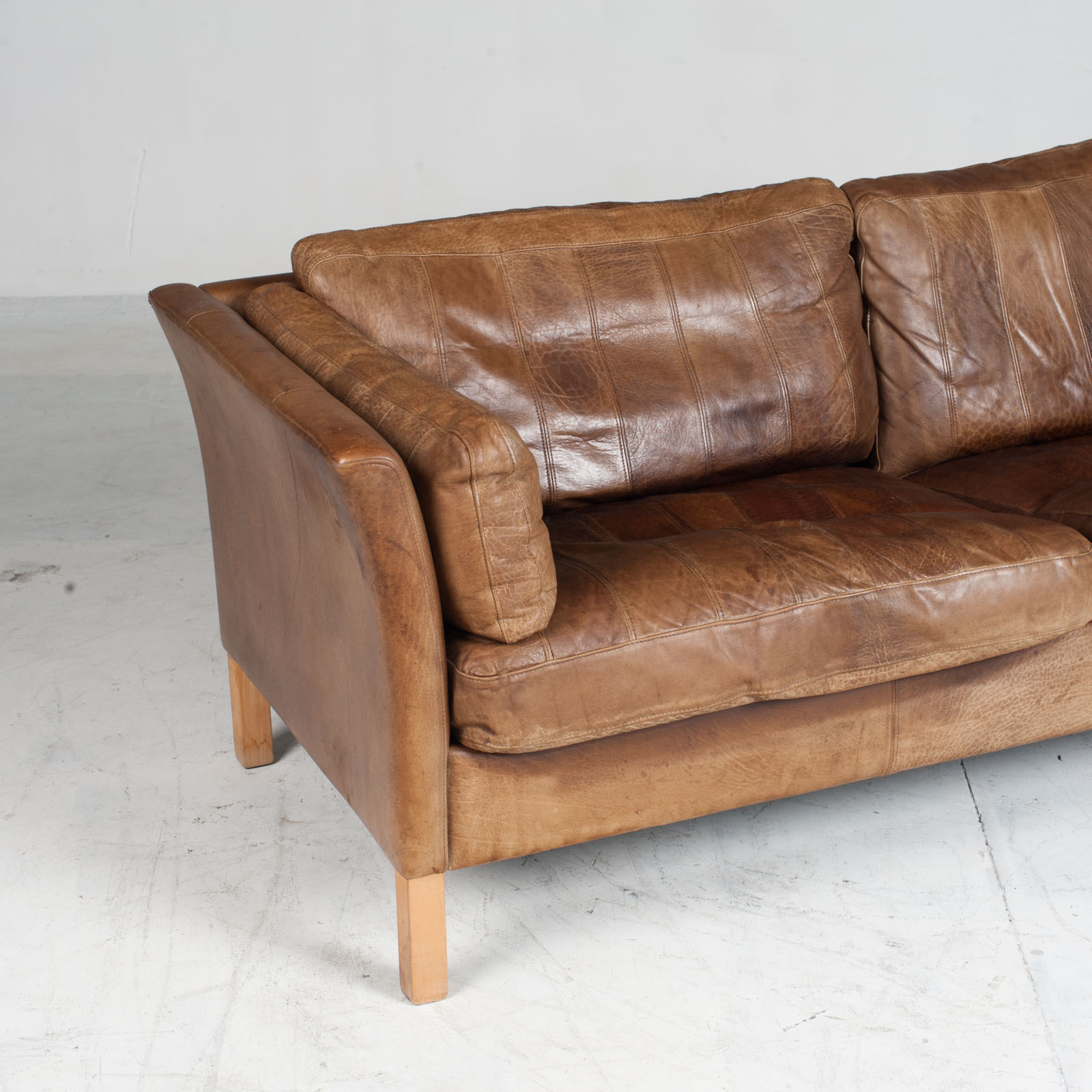 2.5 Seat Sofa In Tan Panelled Leather 1960s Denmark3