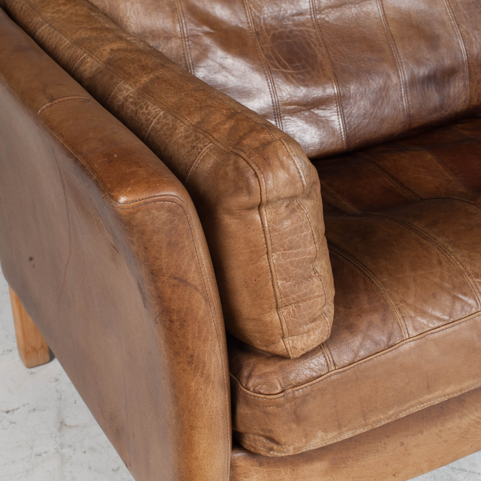 2.5 Seat Sofa In Tan Panelled Leather 1960s Denmark6