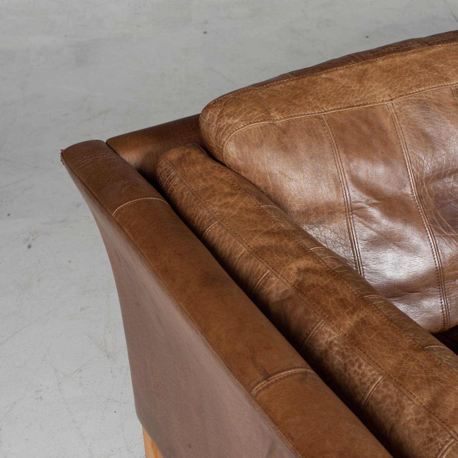 2.5 Seat Sofa In Tan Panelled Leather 1960s Denmark7