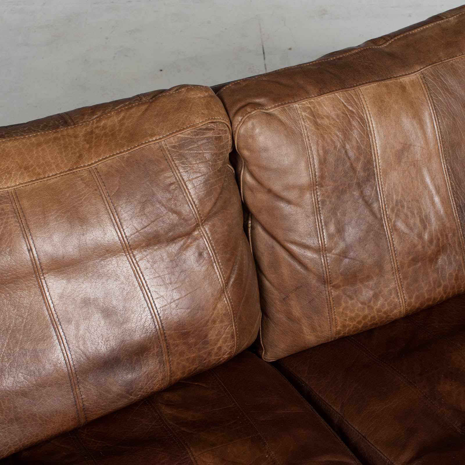 2.5 Seat Sofa In Tan Panelled Leather 1960s Denmark8