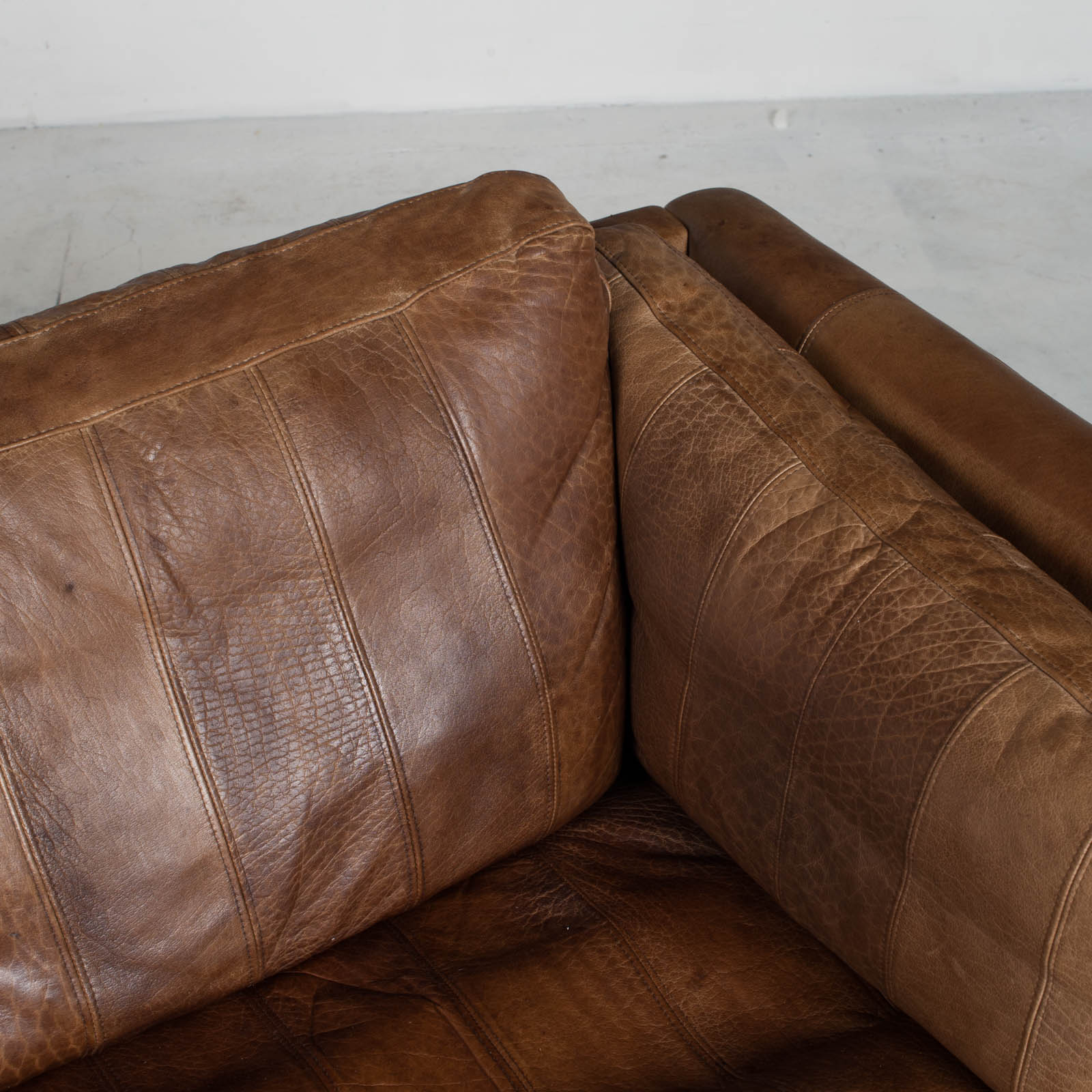 2.5 Seat Sofa In Tan Panelled Leather 1960s Denmark9