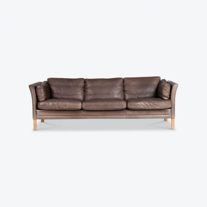 3 Seat Sofa In Chocolate Brown Leather By Mogens Hansen Denmark Thumb