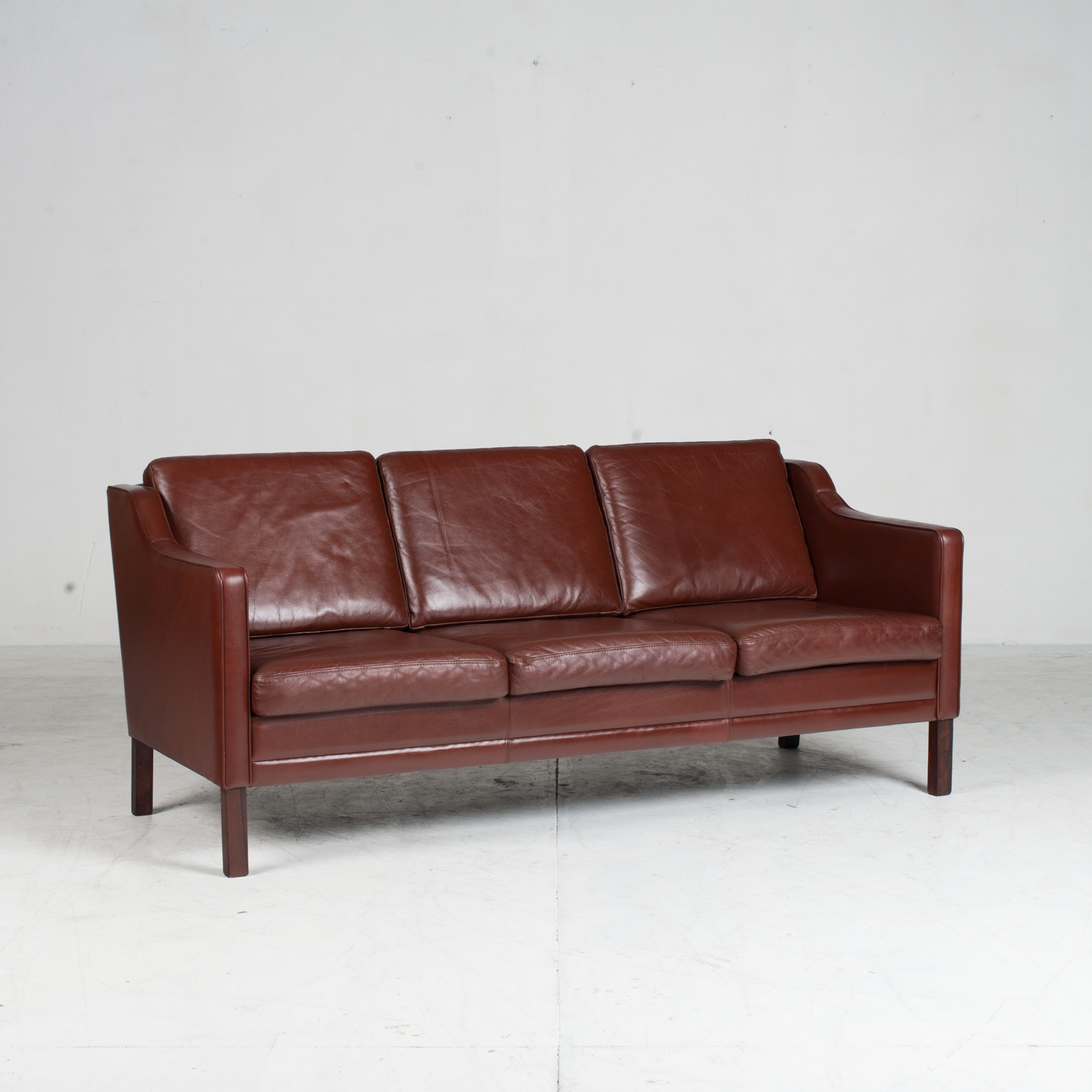 3 Seater Sofa In Tan Leather 1960s Denmark2