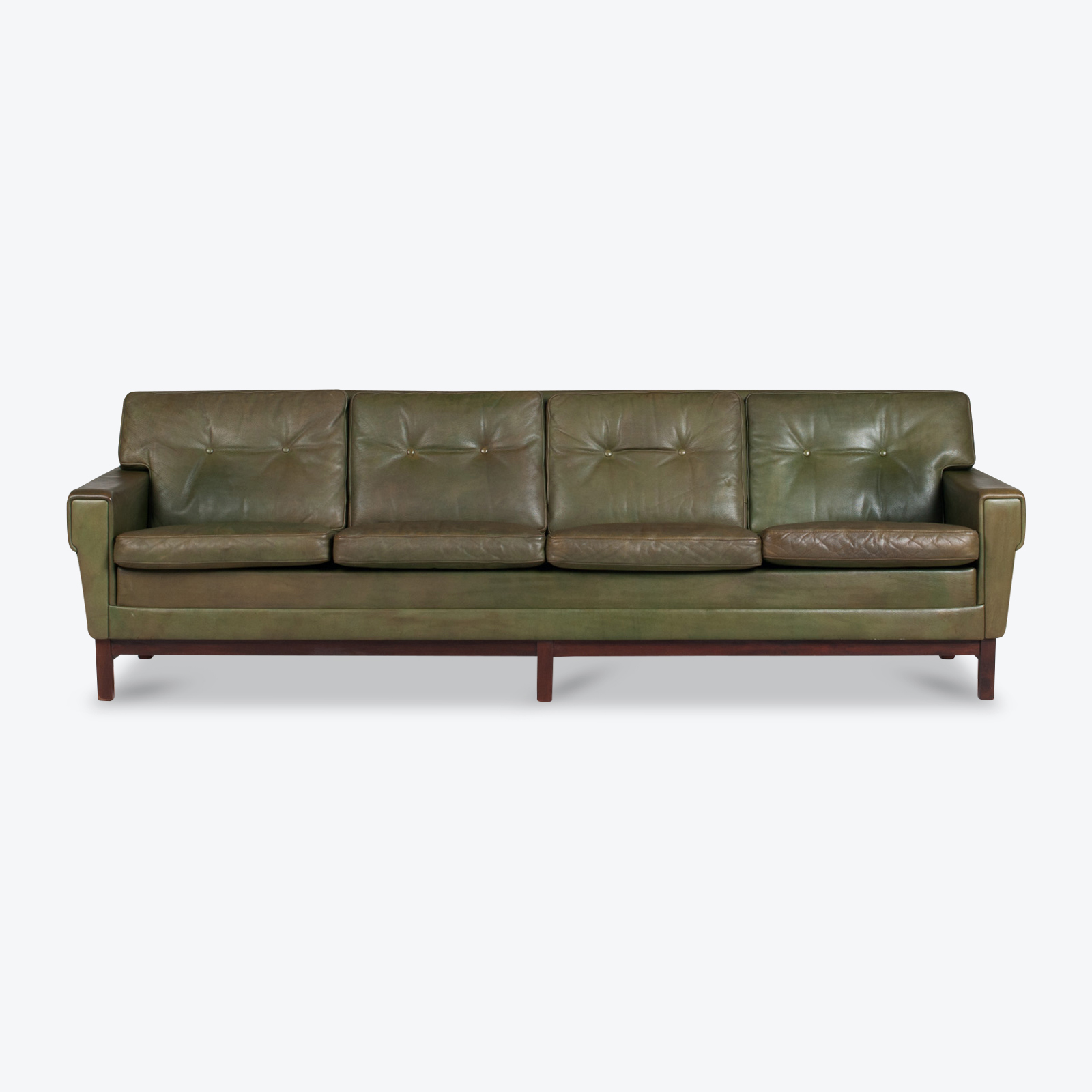 4 Seat Sofa In Olive Leather 1960s Denmark 01