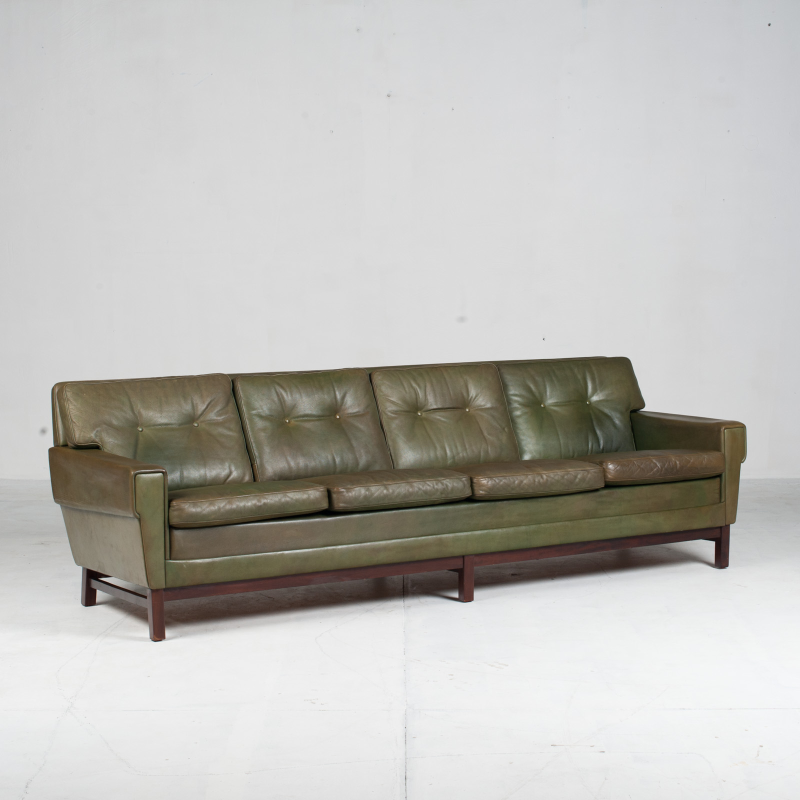 4 Seat Sofa In Olive Leather 1960s Denmark 02