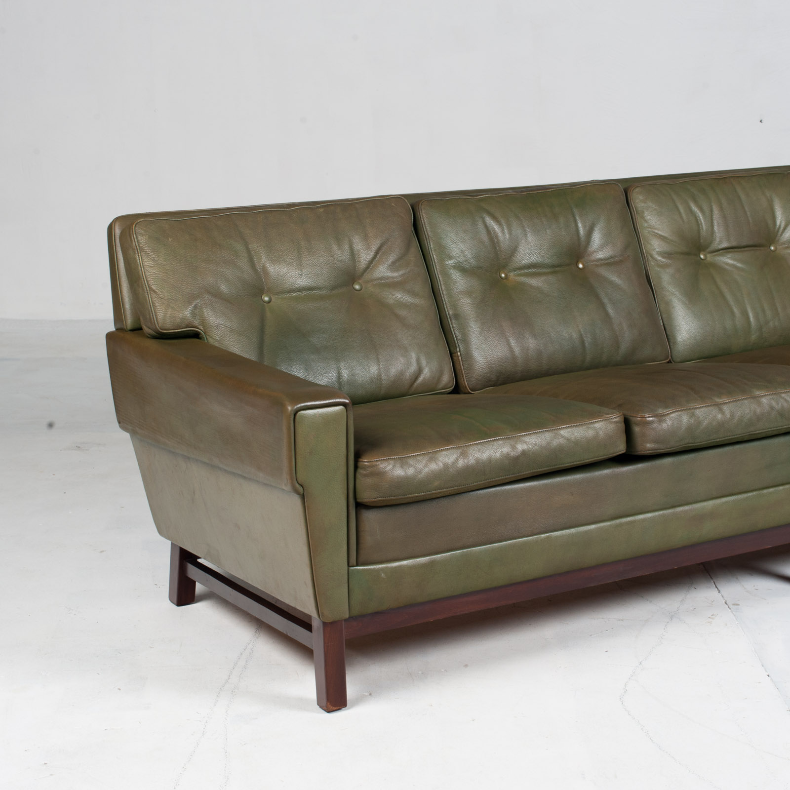 4 Seat Sofa In Olive Leather 1960s Denmark 03