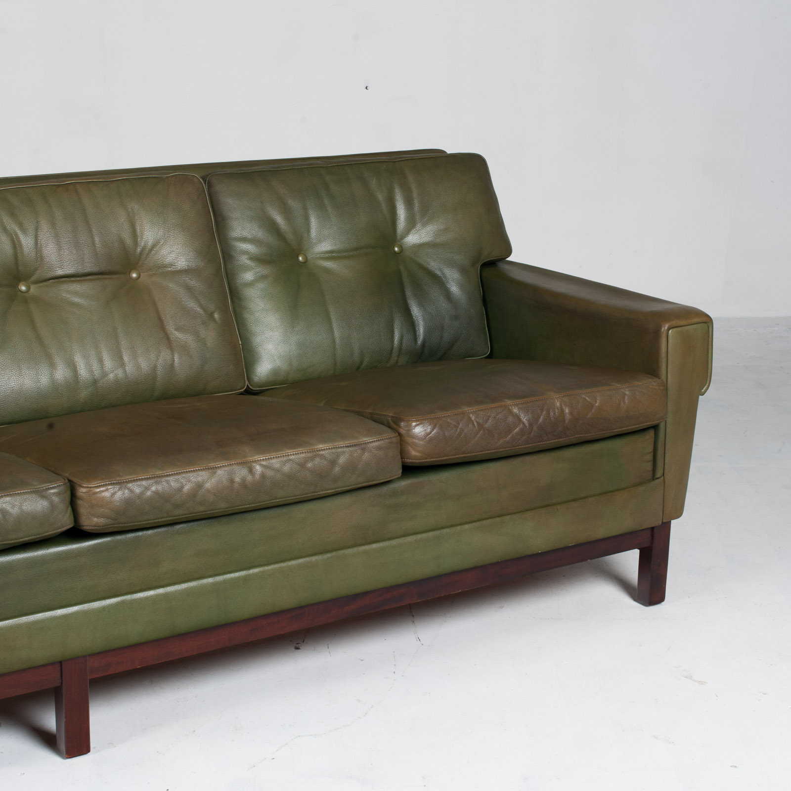 4 Seat Sofa In Olive Leather 1960s Denmark 04