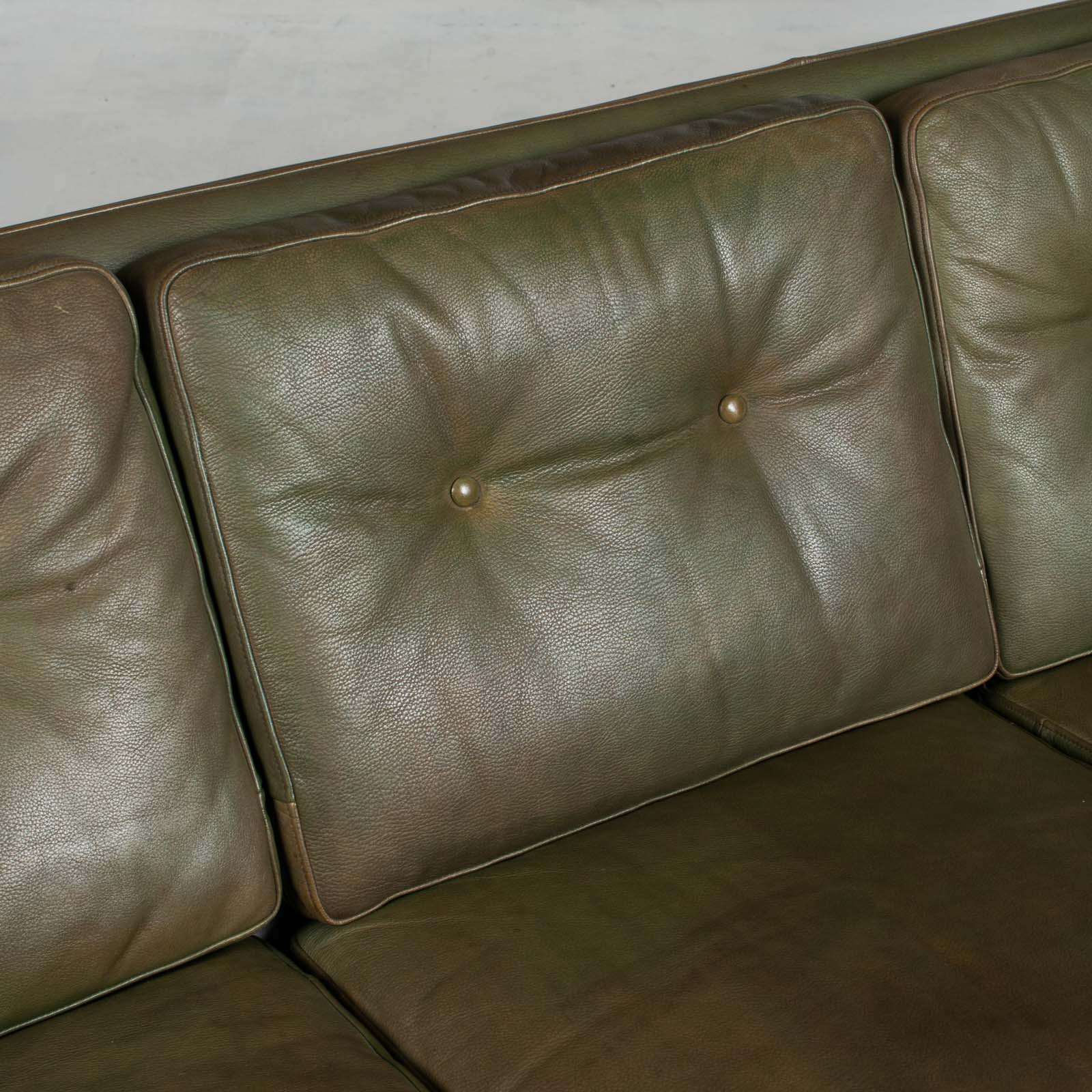 4 Seat Sofa In Olive Leather 1960s Denmark 07