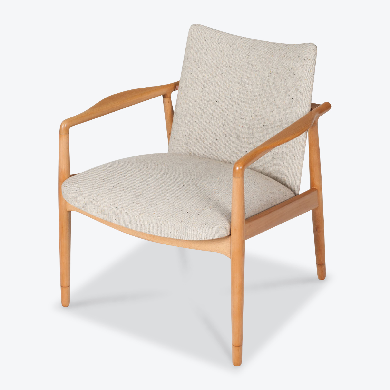 Armchairs In Beech Frame And Light Oatmeal Upholstery 1960s Denmark 01