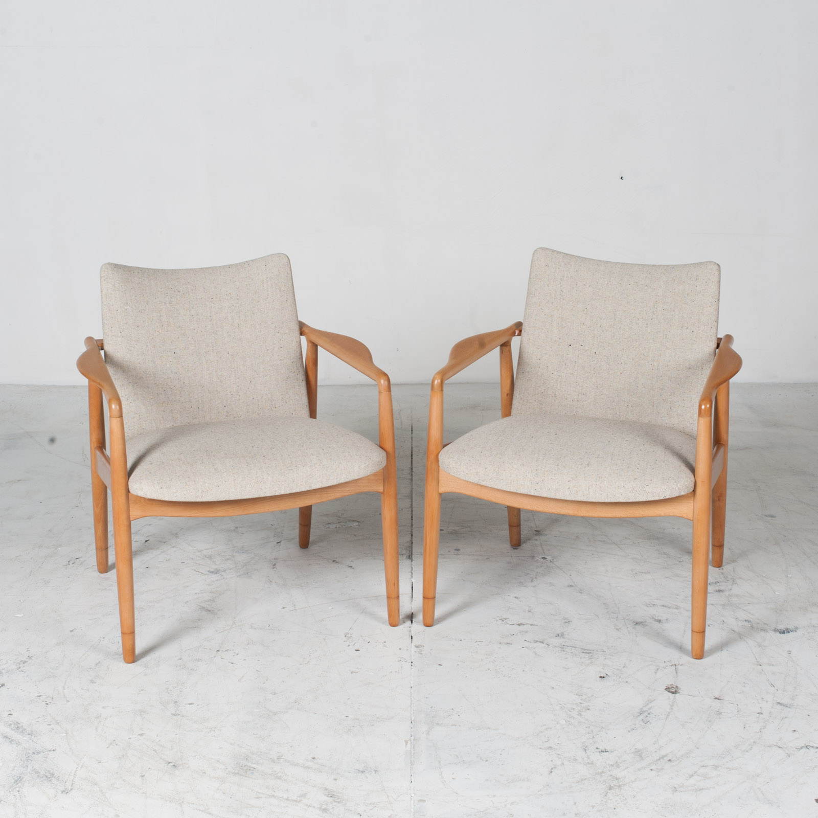 Armchairs In Beech Frame And Light Oatmeal Upholstery 1960s Denmark 011