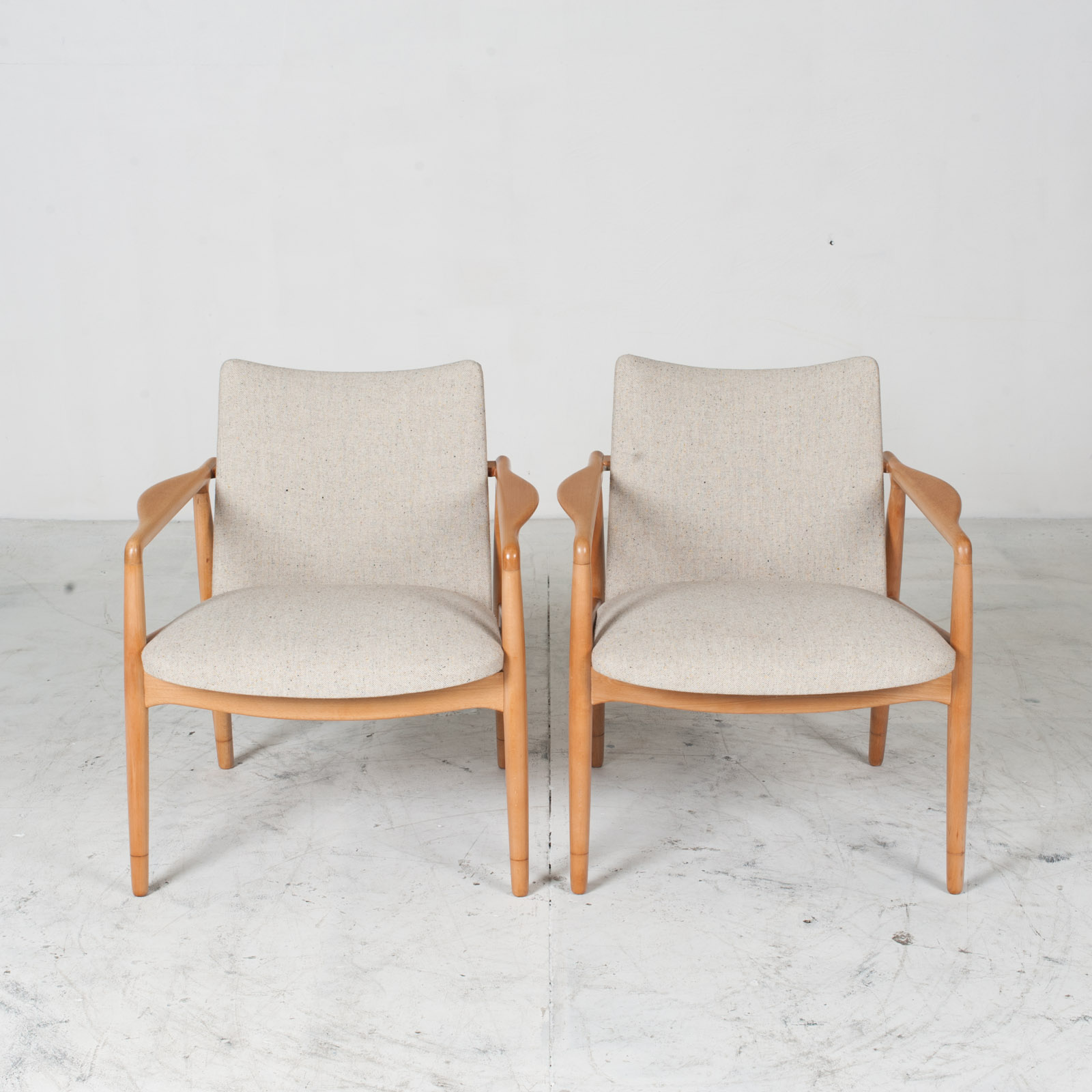 Armchairs In Beech Frame And Light Oatmeal Upholstery 1960s Denmark 012