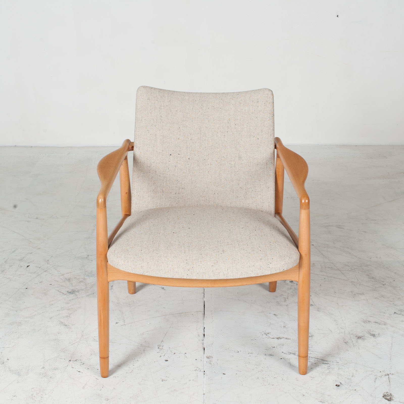 Armchairs In Beech Frame And Light Oatmeal Upholstery 1960s Denmark 02