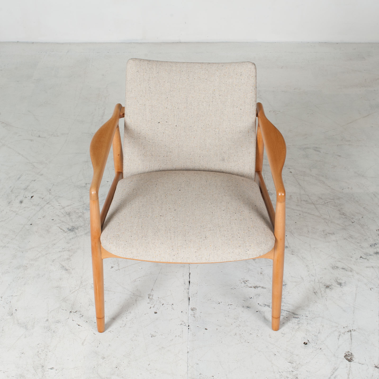 Armchairs In Beech Frame And Light Oatmeal Upholstery 1960s Denmark 03
