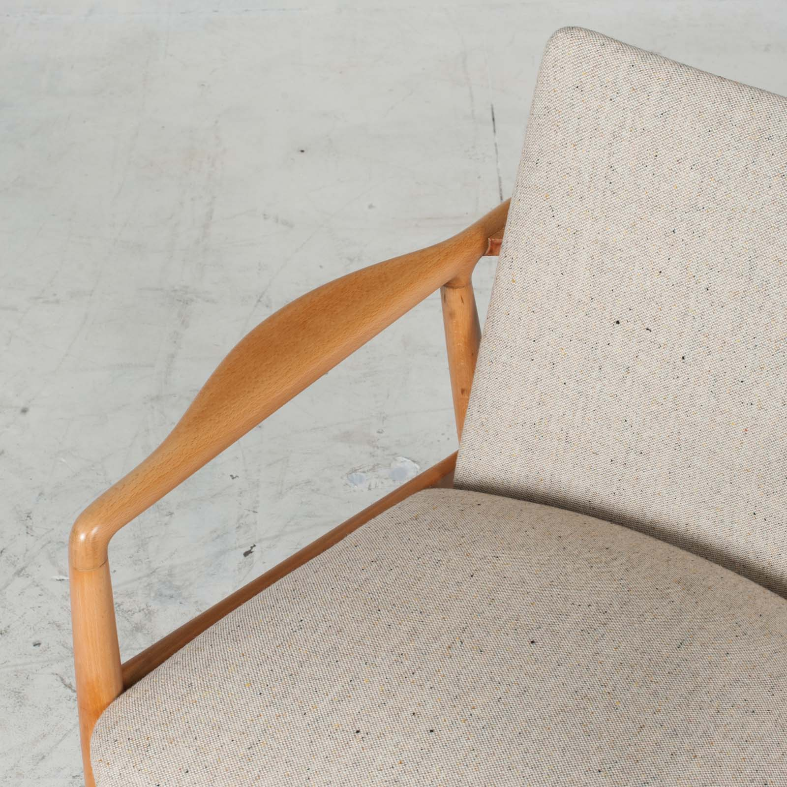 Armchairs In Beech Frame And Light Oatmeal Upholstery 1960s Denmark 05