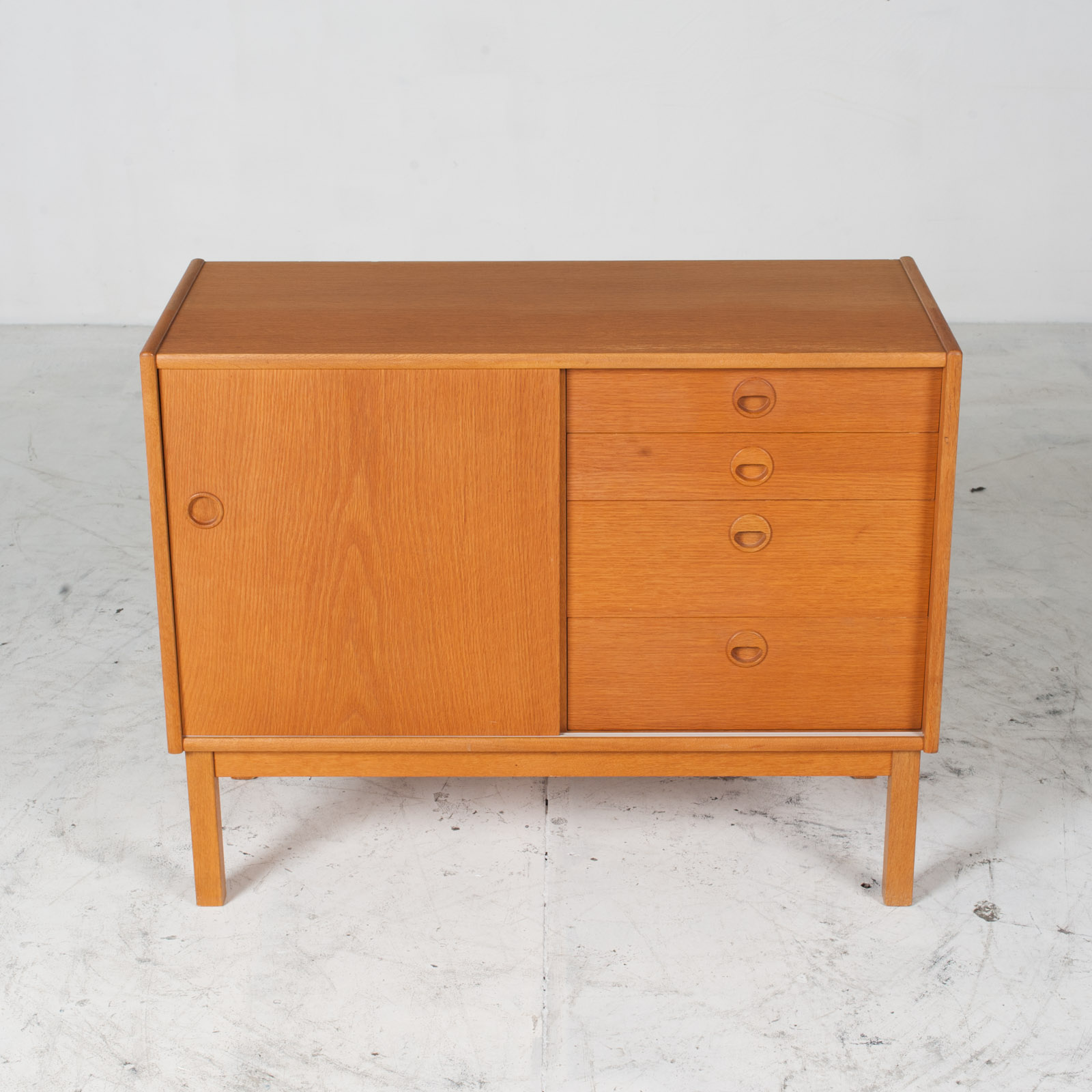 Cabient With Sliding Door And Drawers In Oak 1960s Denmark 02
