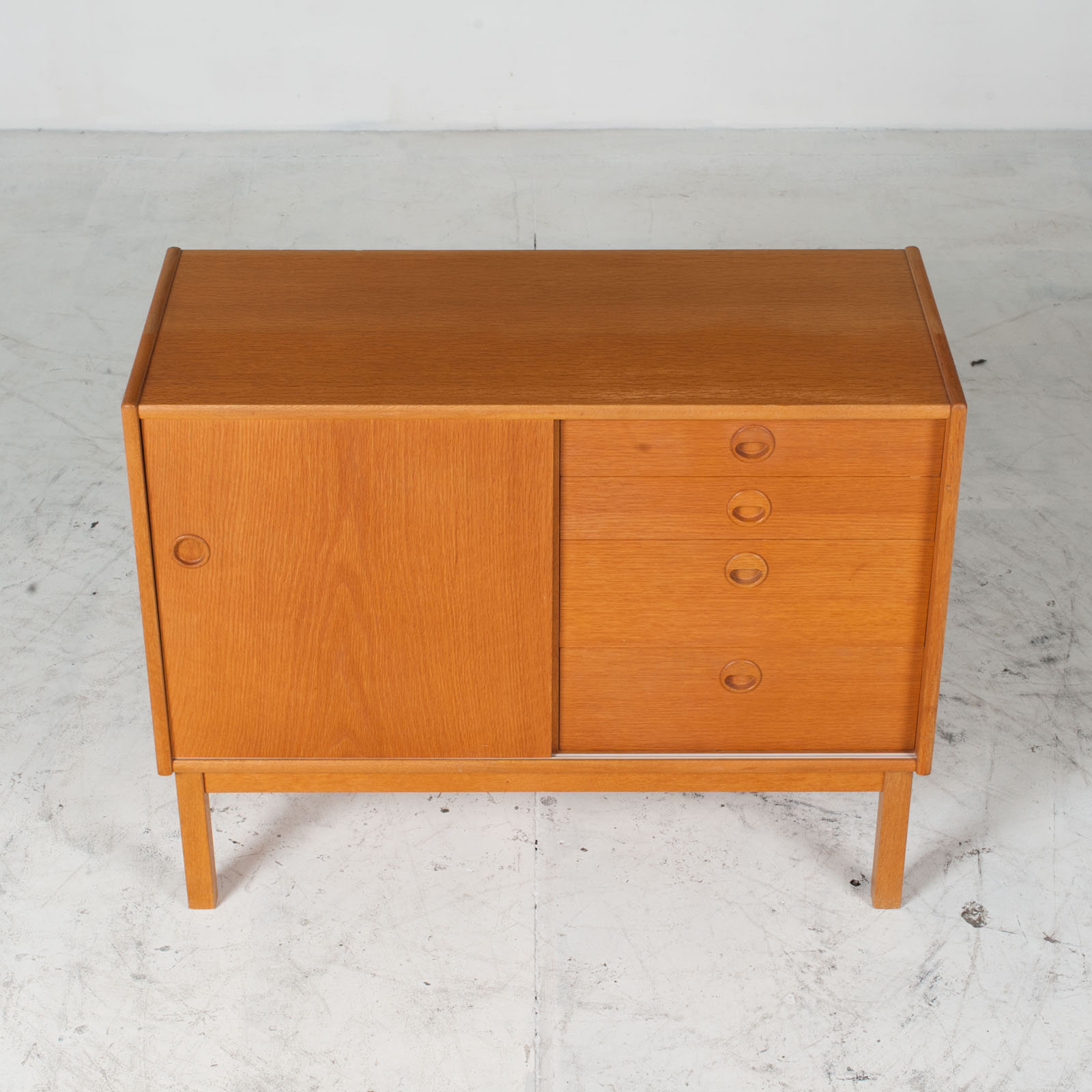 Cabient With Sliding Door And Drawers In Oak 1960s Denmark 03
