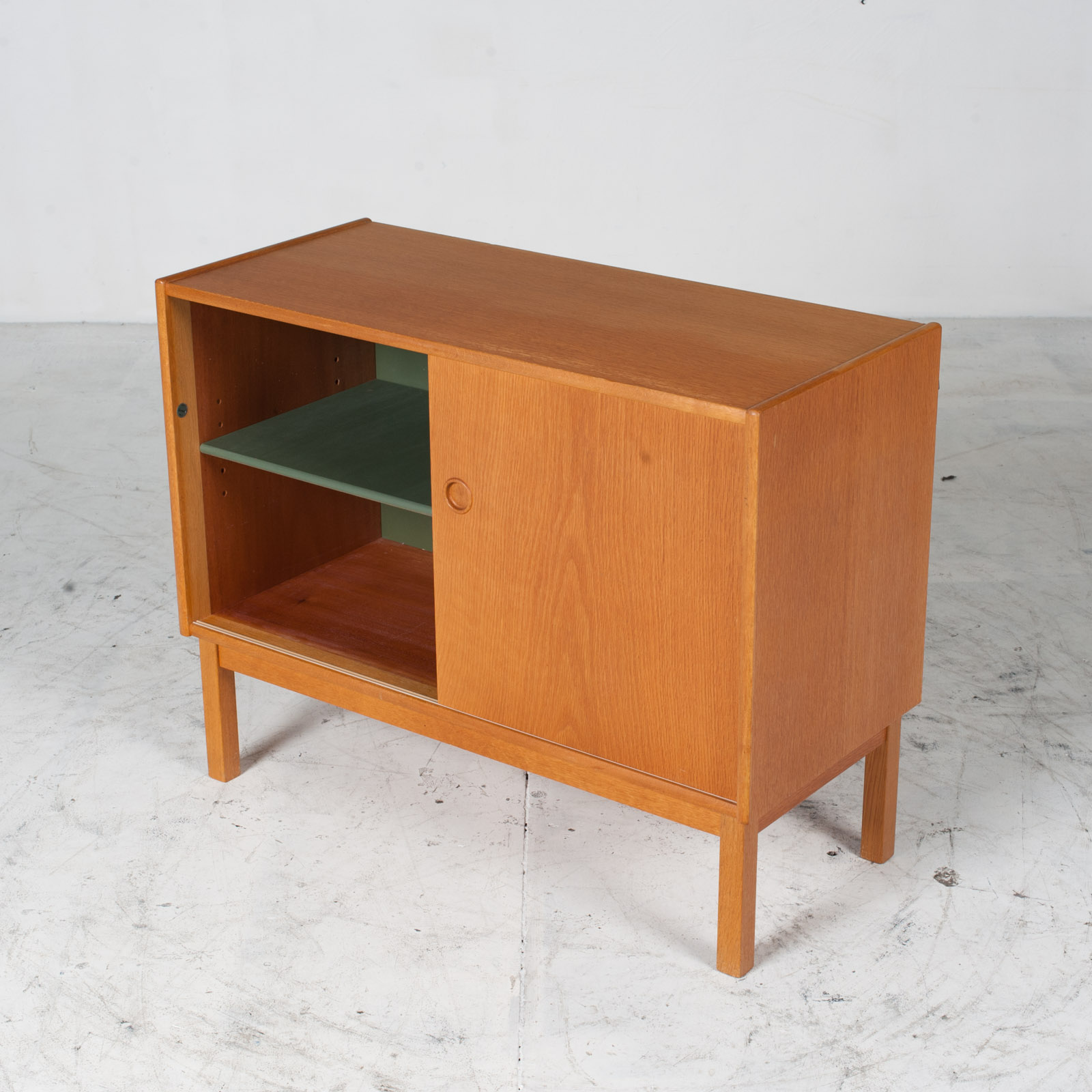 Cabient With Sliding Door And Drawers In Oak 1960s Denmark 05