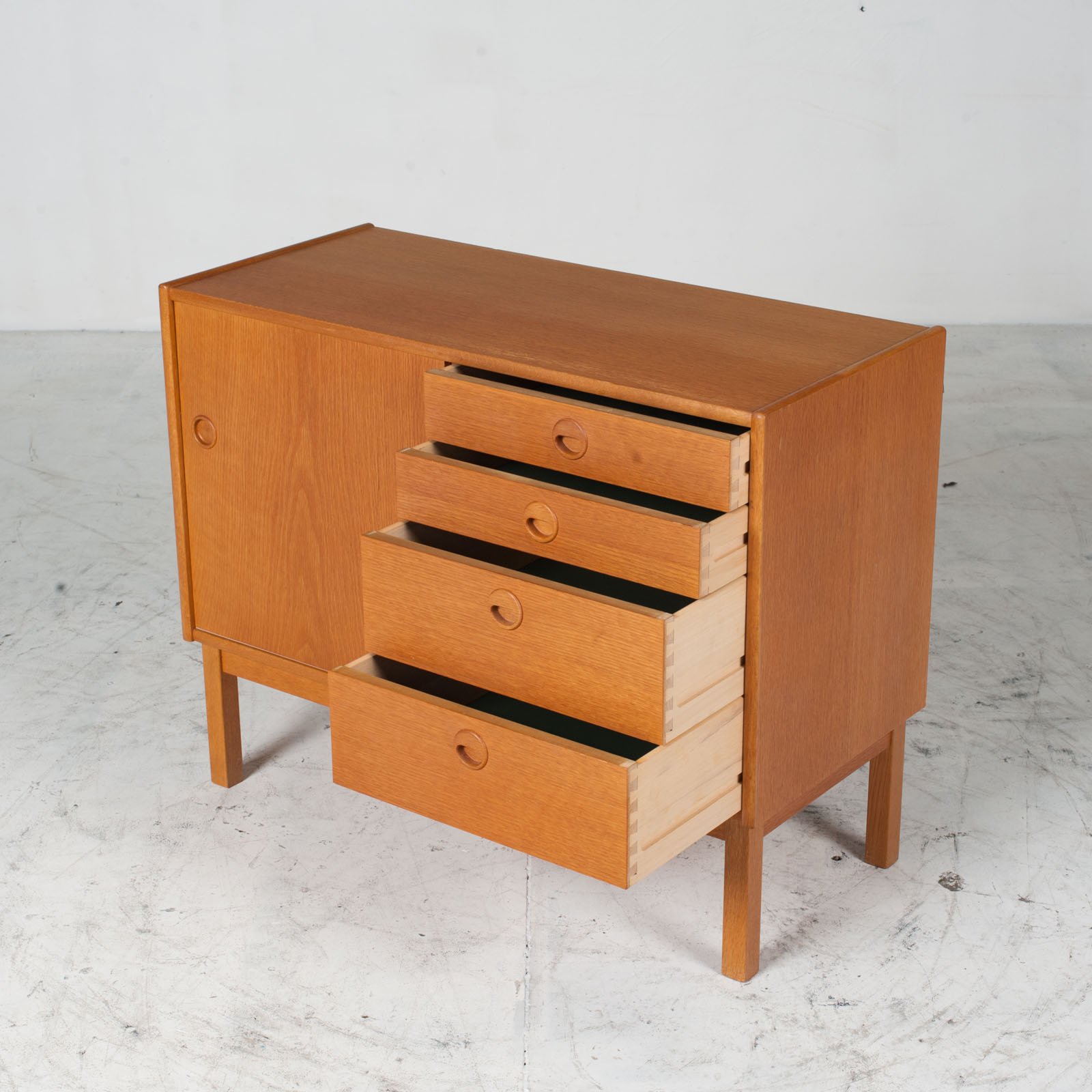 Cabient With Sliding Door And Drawers In Oak 1960s Denmark 06