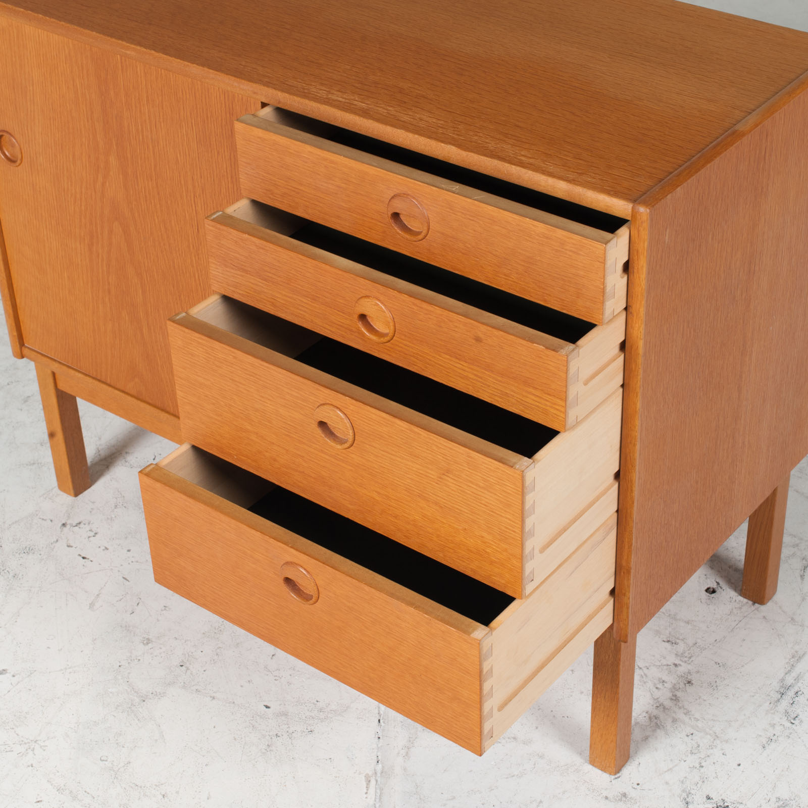 Cabient With Sliding Door And Drawers In Oak 1960s Denmark 07