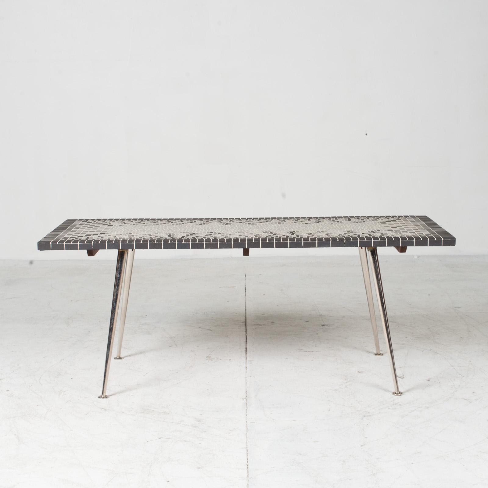 Coffee Table In Tile Top And Nickel Plated Brass Legs 1950s Italy 02