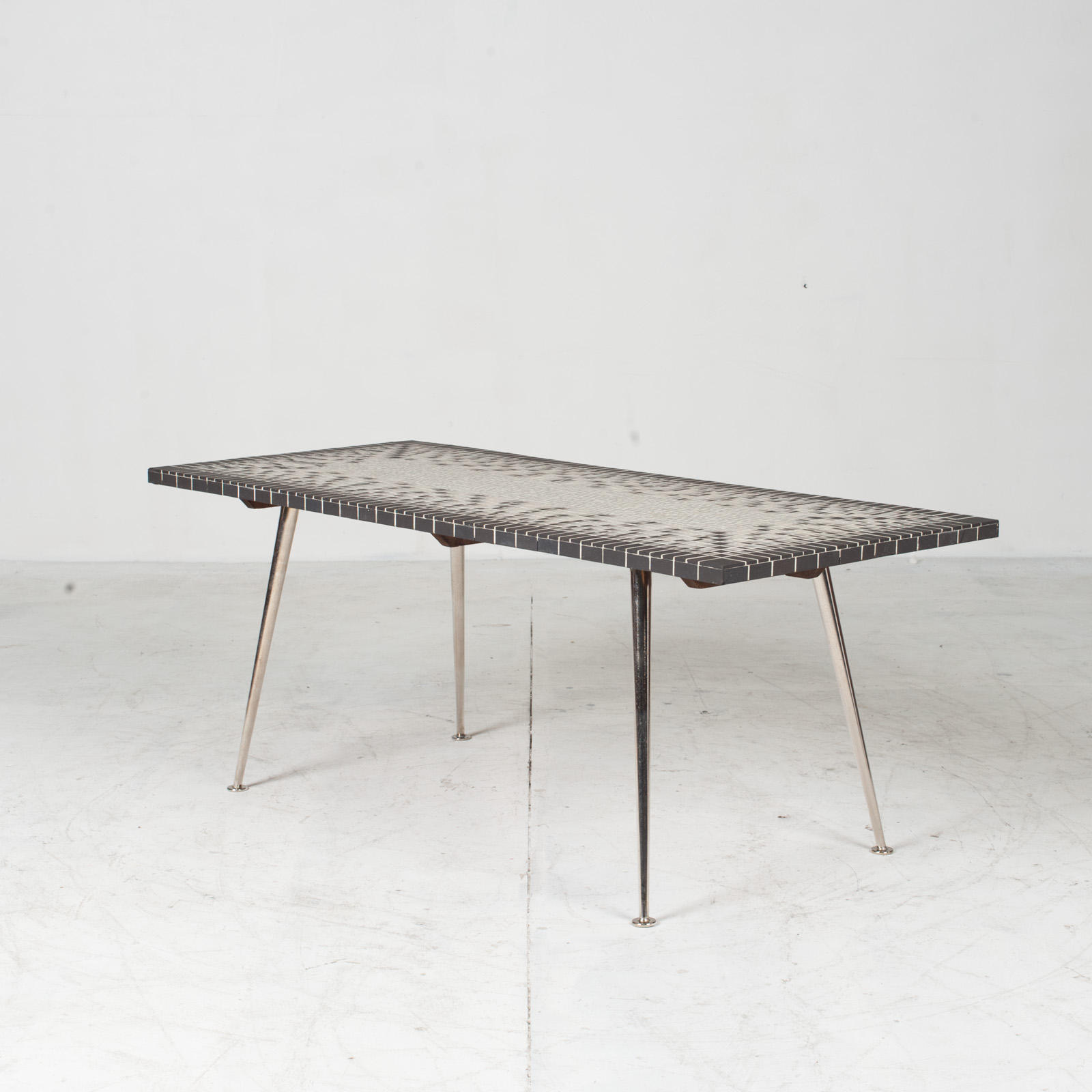 Coffee Table In Tile Top And Nickel Plated Brass Legs 1950s Italy 03