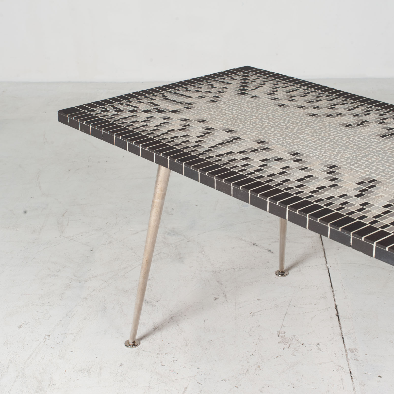 Coffee Table In Tile Top And Nickel Plated Brass Legs 1950s Italy 04