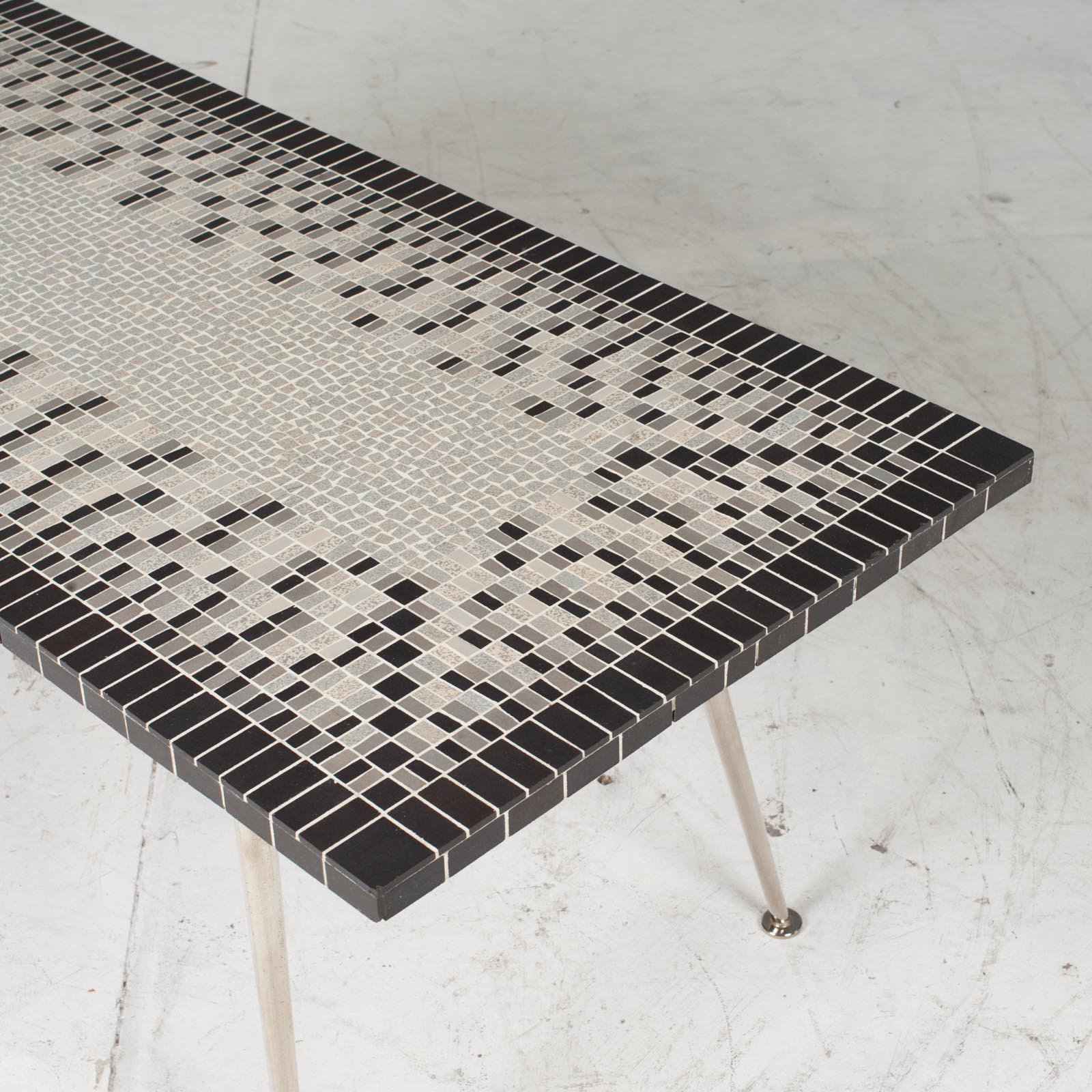 Coffee Table In Tile Top And Nickel Plated Brass Legs 1950s Italy 12