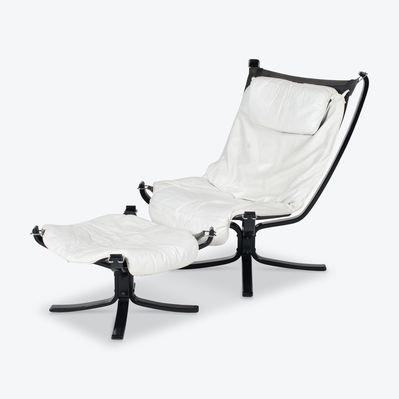 High Back Falcon Armchair By Sigurd Ressell For Vatne Mobler In Patinated White Leather With Footstool 1970s Norway 01