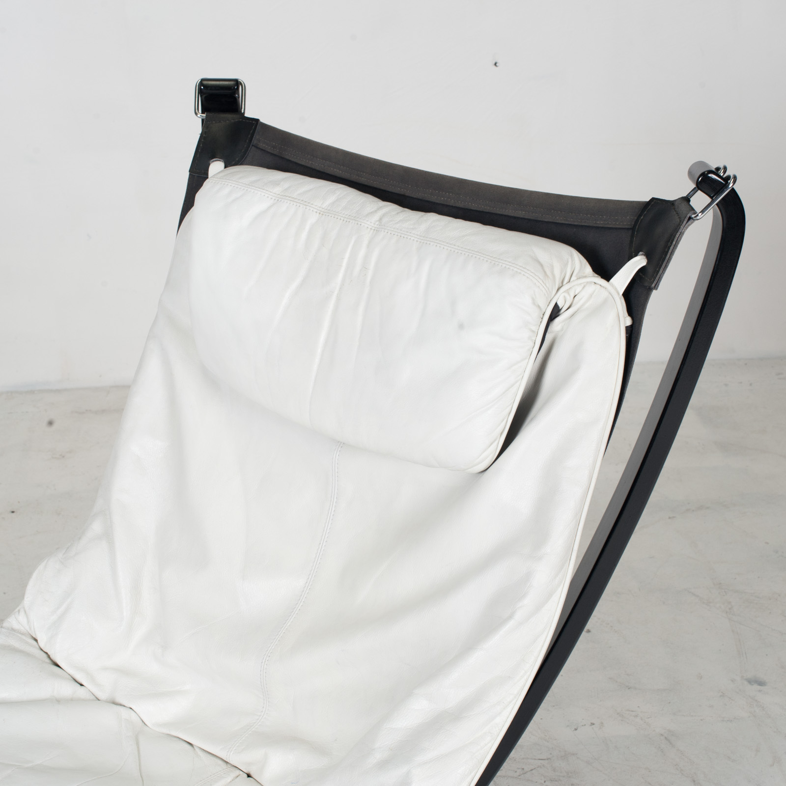 High Back Falcon Armchair By Sigurd Ressell For Vatne Mobler In Patinated White Leather With Footstool 1970s Norway 06