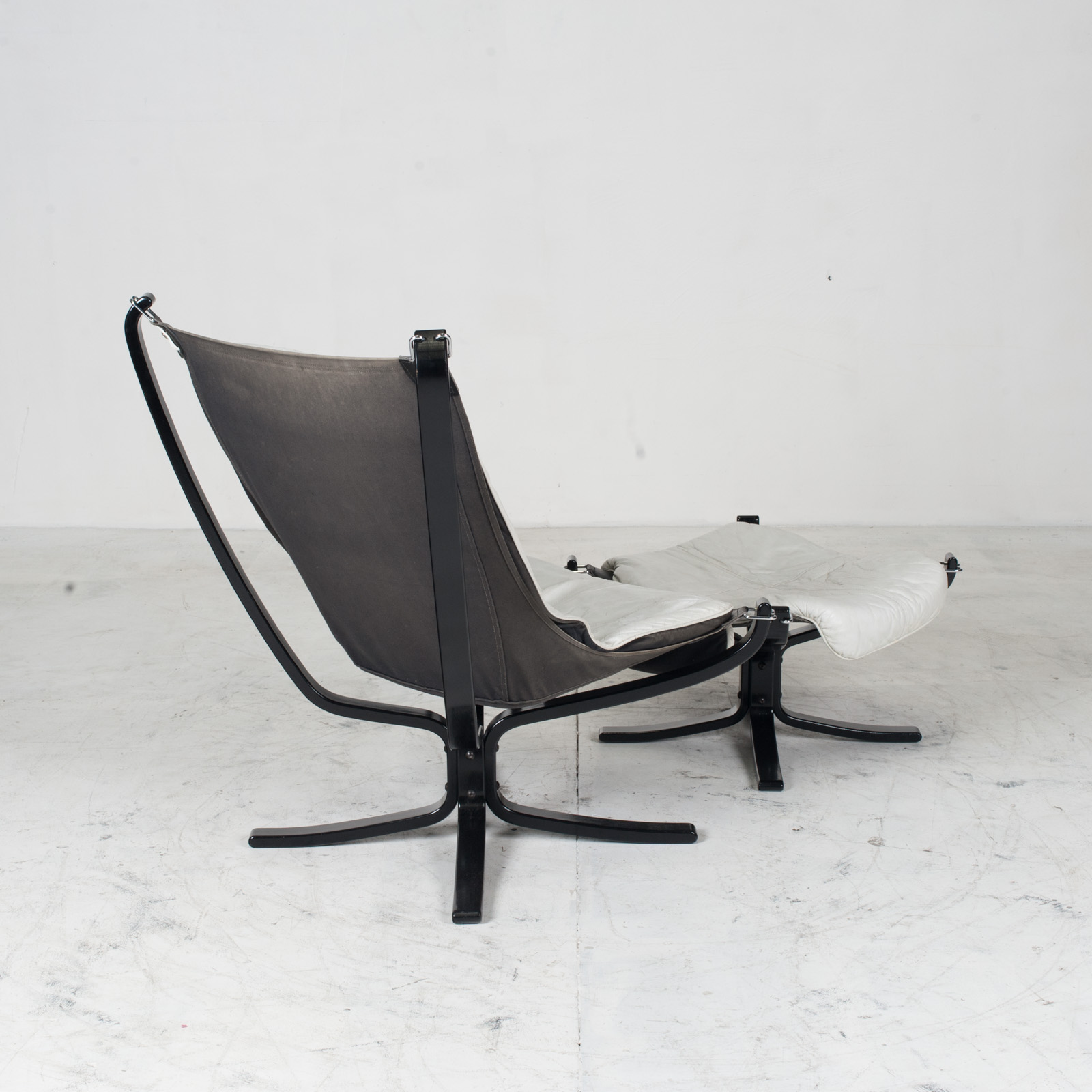 High Back Falcon Armchair By Sigurd Ressell For Vatne Mobler In Patinated White Leather With Footstool 1970s Norway 07