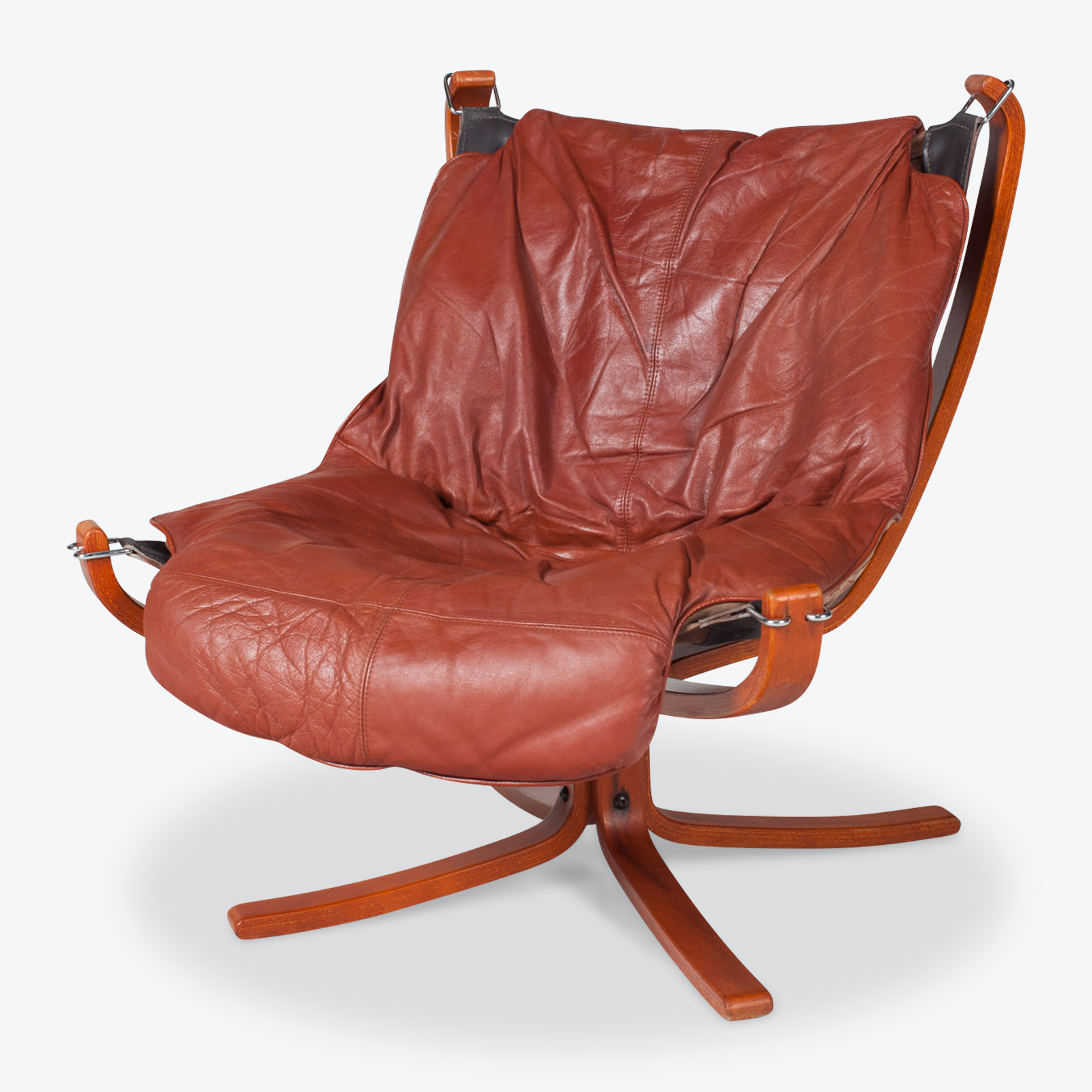 Low Back Falcon Armchair By Sigurd Ressell For Vatne Mobler In Patinated Cognac Leather 1970s Norway 01