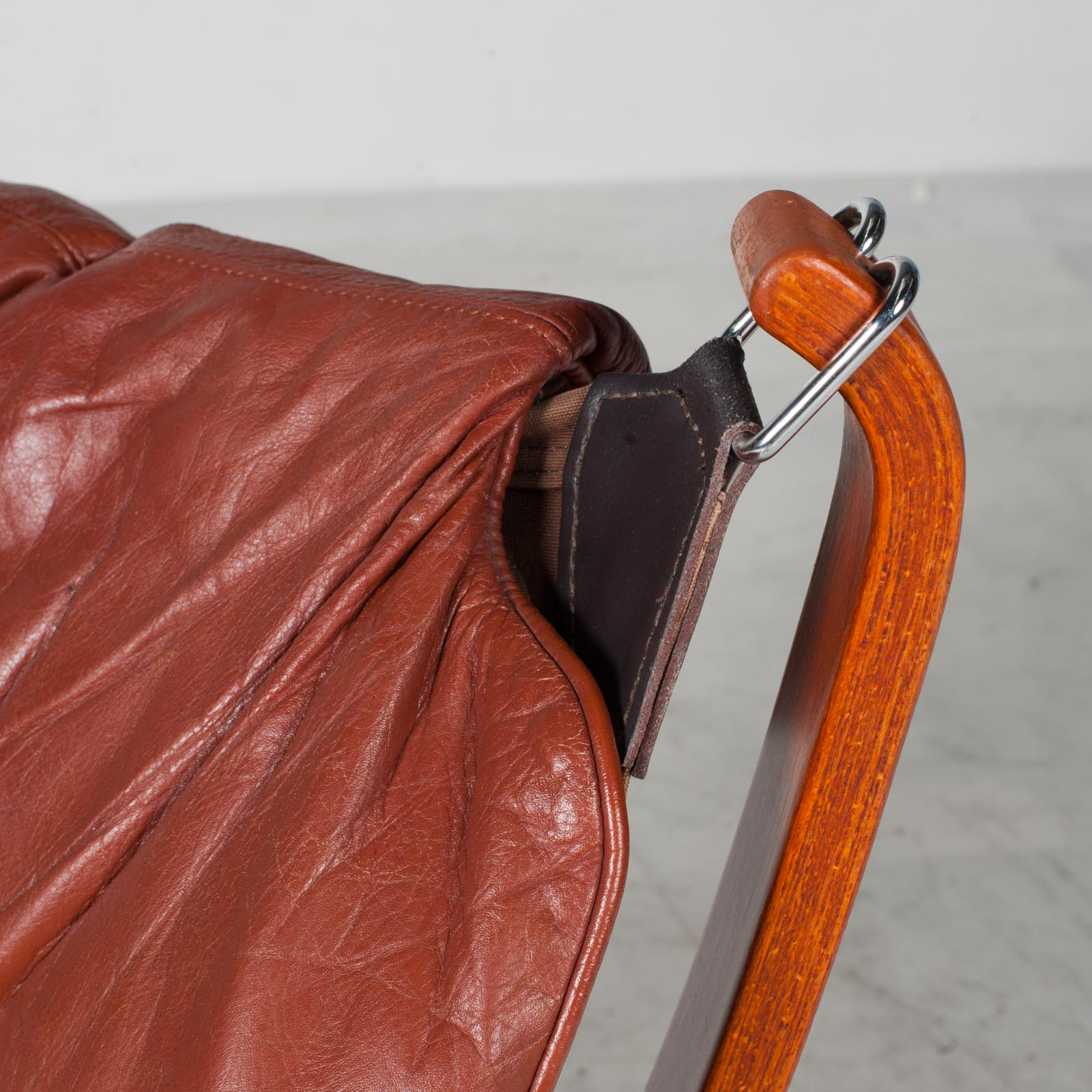 Low Back Falcon Armchair By Sigurd Ressell For Vatne Mobler In Patinated Cognac Leather 1970s Norway 11