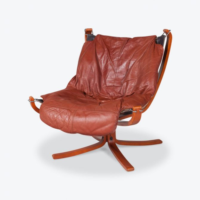 Low Back Falcon Armchair By Sigurd Ressell For Vatne Mobler In Patinated Cognac Leather 1970s Norway Thumb
