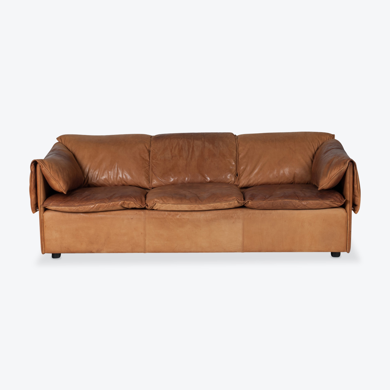 Model Lotus 3 Seat Sofa By Eilersen In Tan Leather 1970s Denmark 01