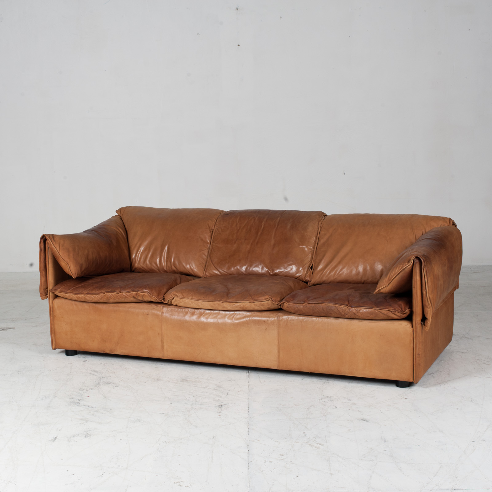 Model Lotus 3 Seat Sofa By Eilersen In Tan Leather 1970s Denmark 04