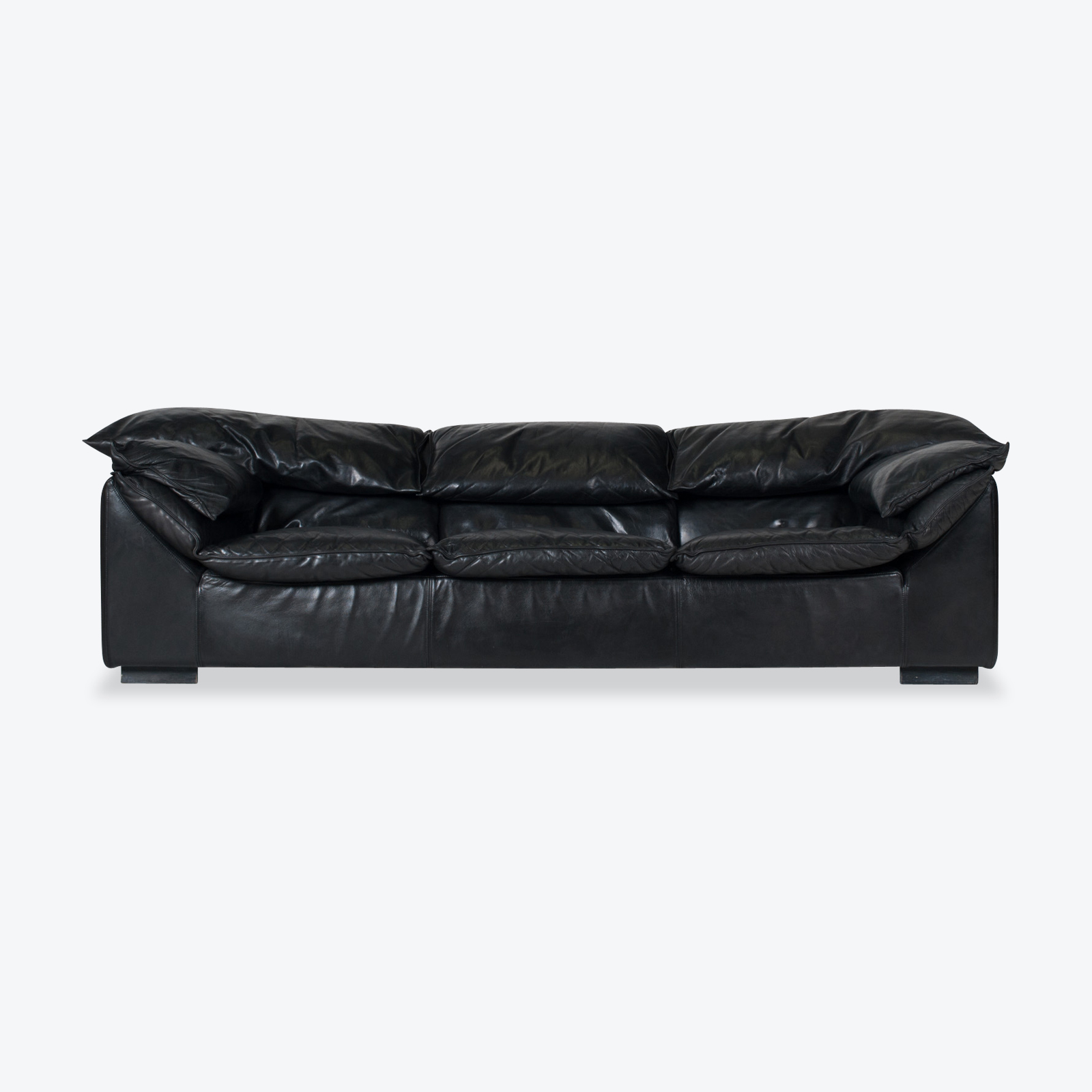 Model Monza 3 Seat Sofa By Eilerson In Black Leather 1970s Denmark 01