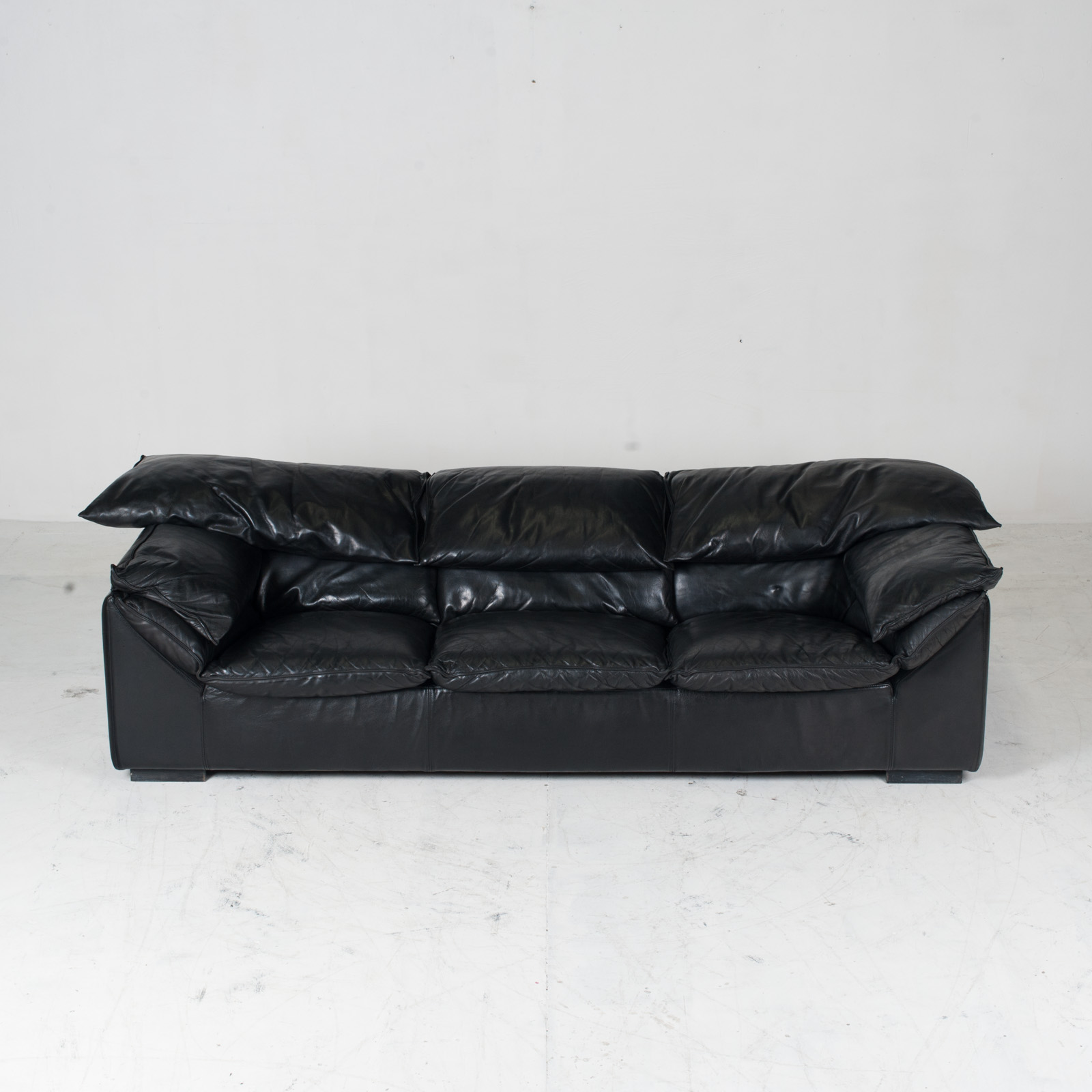 Model Monza 3 Seat Sofa By Eilerson In Black Leather 1970s Denmark 03