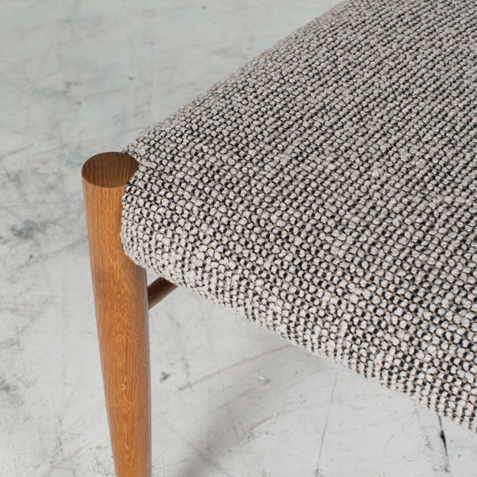 Set 6 Dining Chairs By H.w.klein In Oak And Textured Grey Wool 1960s Denmark 08