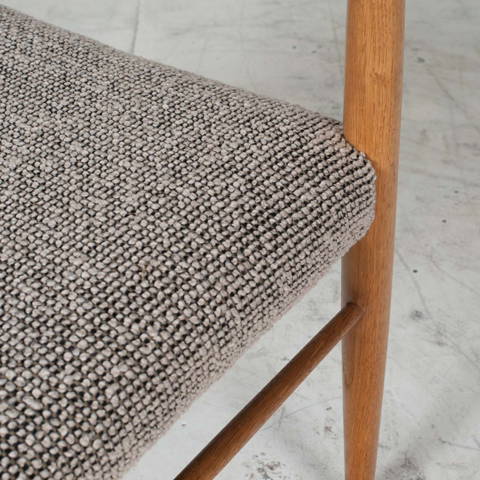 Set 6 Dining Chairs By H.w.klein In Oak And Textured Grey Wool 1960s Denmark 09