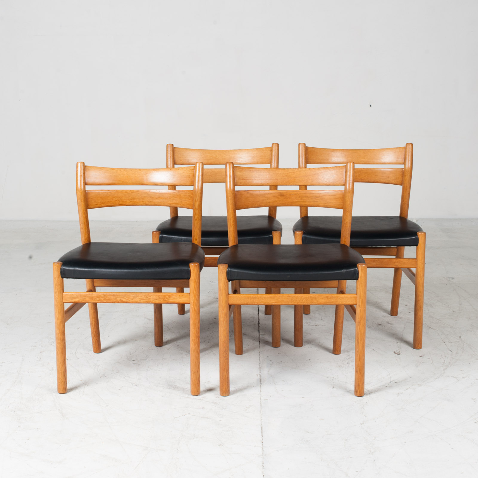 Set Of 4 Oak Ladder Back Dining Chairs By Borge Morgensen 1960s Denmark18