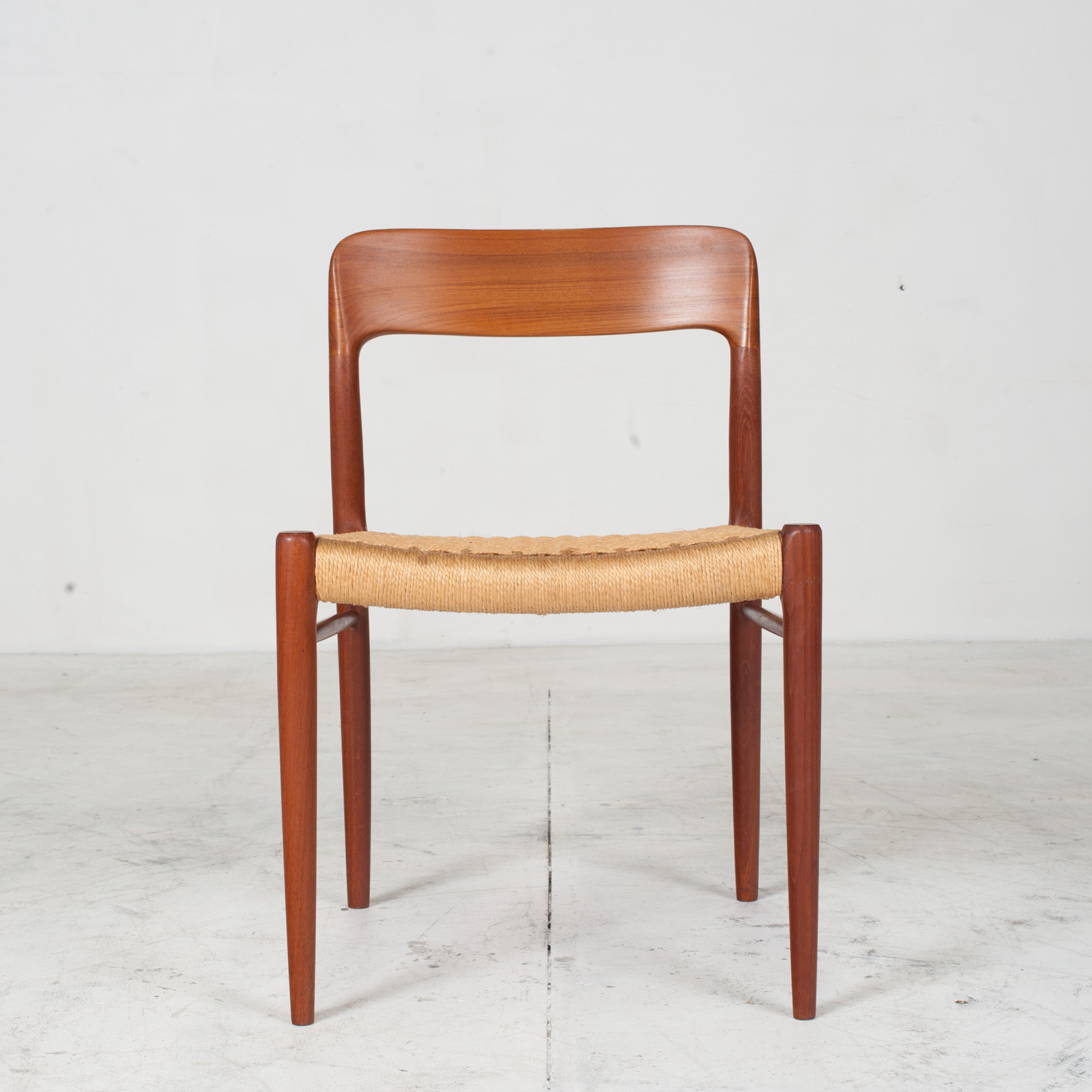 Set Of 6 Model 75 Dining Chairs By J. L. Moller In Teak And Cord 1960s Denmark 02