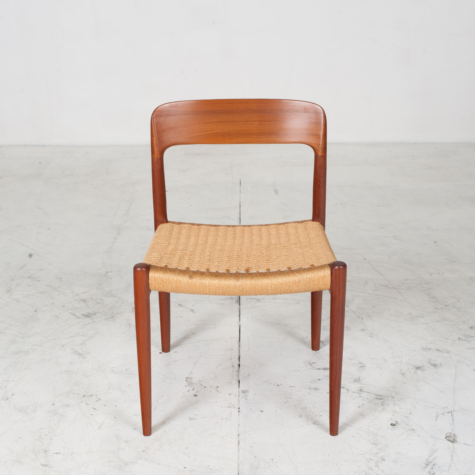 Set Of 6 Model 75 Dining Chairs By J. L. Moller In Teak And Cord 1960s Denmark 03