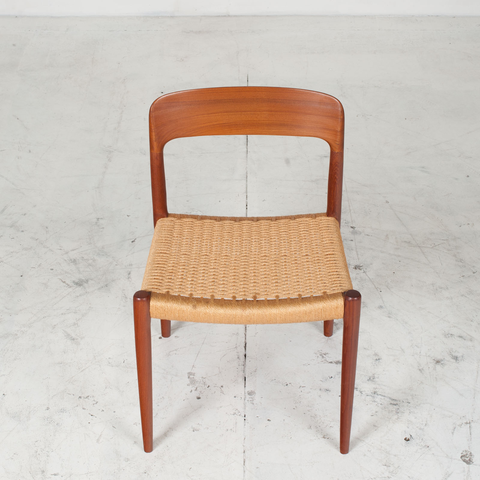Set Of 6 Model 75 Dining Chairs By J. L. Moller In Teak And Cord 1960s Denmark 04