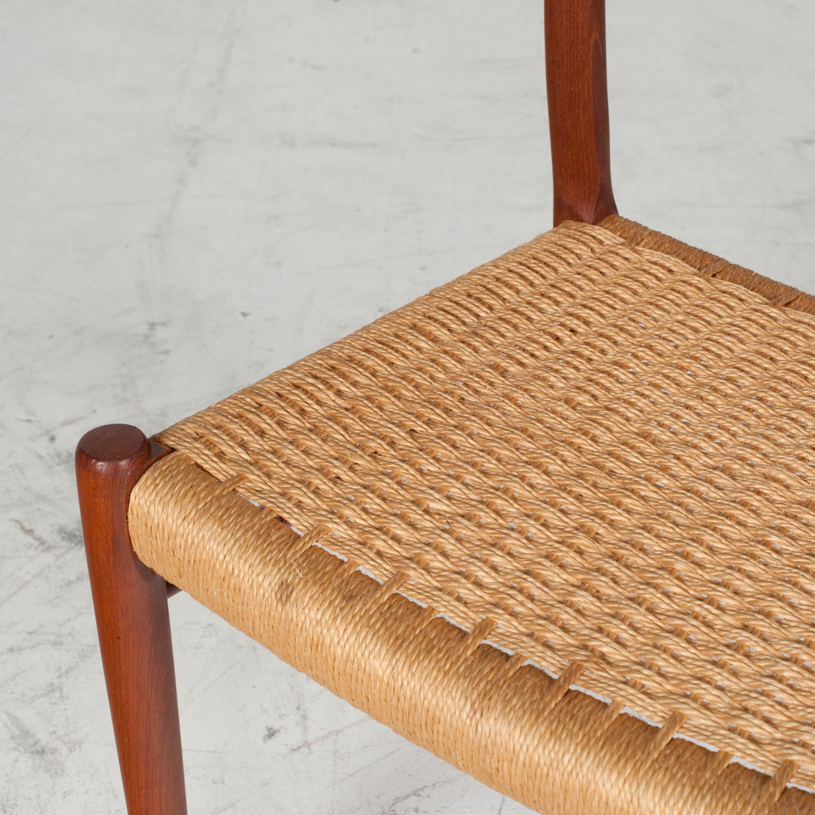 Set Of 6 Model 75 Dining Chairs By J. L. Moller In Teak And Cord 1960s Denmark 05