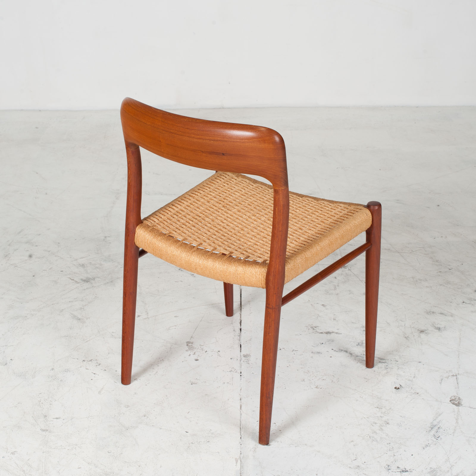 Set Of 6 Model 75 Dining Chairs By J. L. Moller In Teak And Cord 1960s Denmark 07
