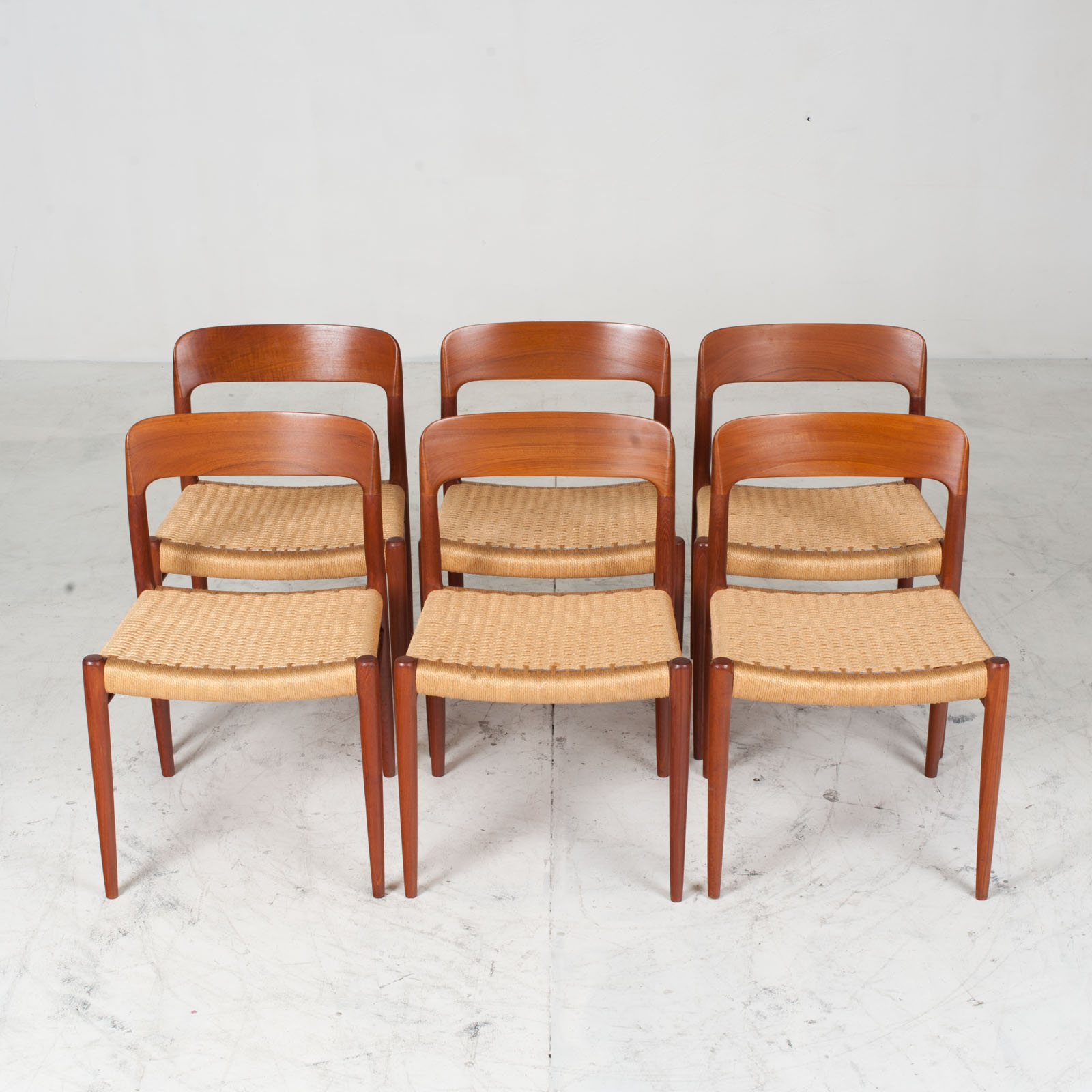 Set Of 6 Model 75 Dining Chairs By J. L. Moller In Teak And Cord 1960s Denmark 10
