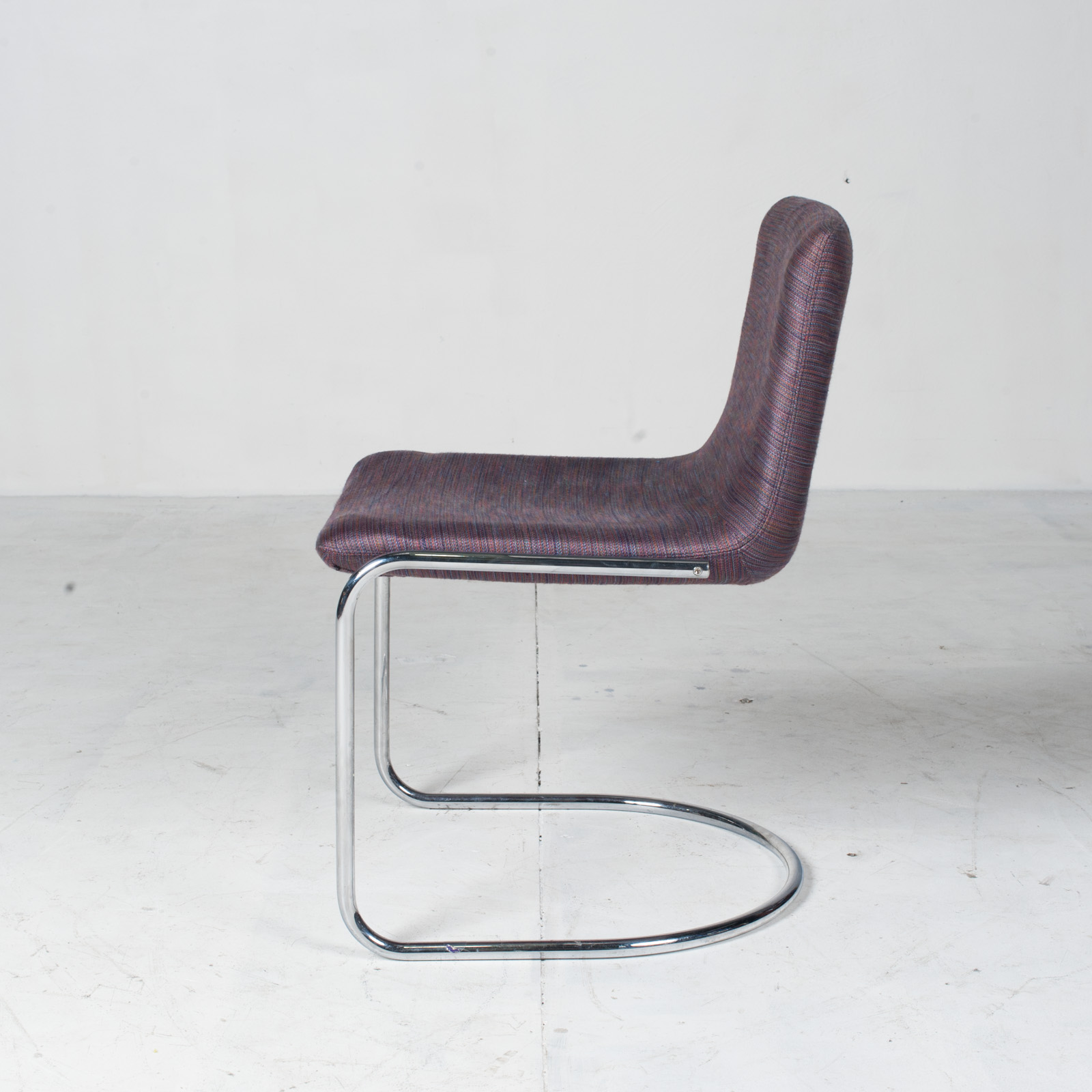 Set Of 6 Model 'lens' Dining Chairs By Giovanni Offredi For Saporiti In Chrome And Original Upholstery 1960s Italy 10