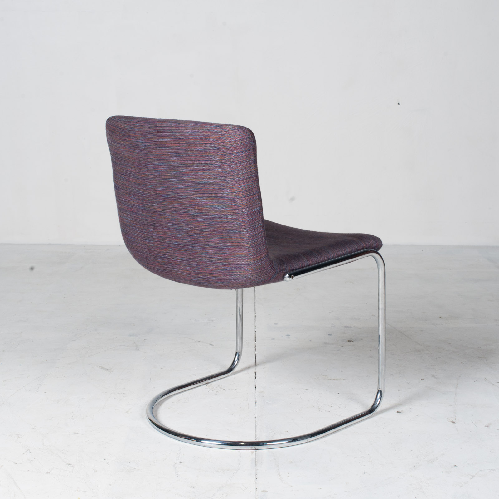 Set Of 6 Model 'lens' Dining Chairs By Giovanni Offredi For Saporiti In Chrome And Original Upholstery 1960s Italy 11